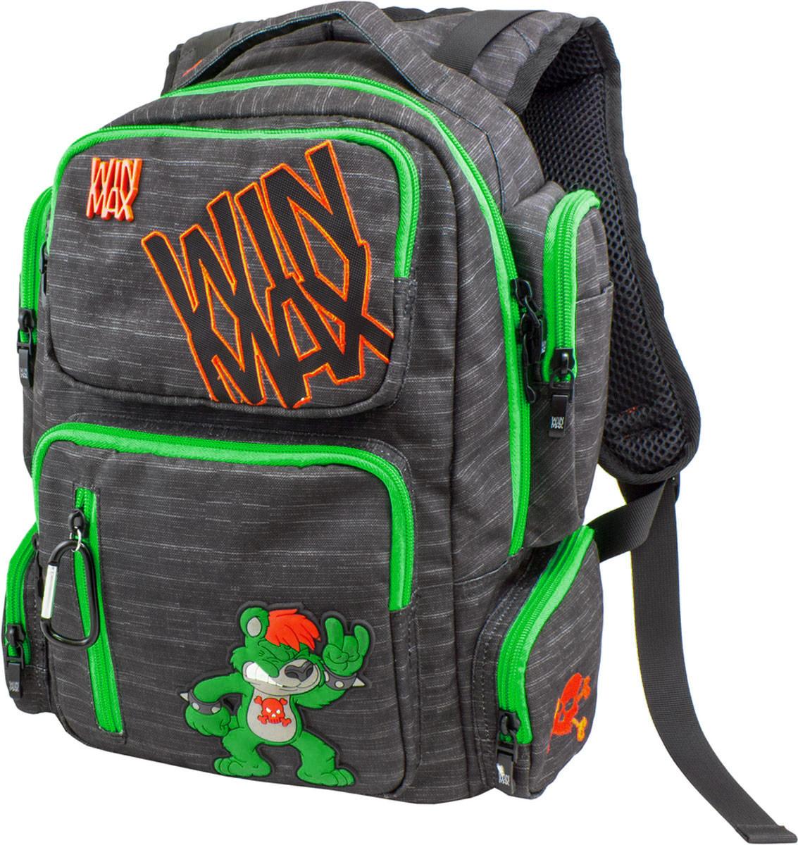 WinMax Рюкзак детский цвет черный зеленый K-544K-544_чер/зелРюкзак WinMax, украшенный оригинальной вышивкой и стильной объемной аппликацией. Эта модель не только красива и оригинальна, но и очень практична и удобна. Благодаря качественному, легкому и прочному материалу, рюкзак долговечен в носке, а множество отделений поможет разместить все необходимые вещи школьника. Если вы ищите, что-то совершенно необычное по стилю, оригинальное и качественное, советуем обратить внимание на него. Рюкзак имеет одно вместительно отделение на молнии. Внутри имеется мягкое отделение на липучке для планшета или ноутбука и открытый накладной карман-сетка. Отделение дополнено нашивкой, в которую можно занести личные данные владельца. На лицевой стороне рюкзака расположились врезной два накладных кармана на молниях. Верхний карман содержит два открытых накладных кармашка. Внутри нижнего кармана имеются два открытых накладных кармана, кармашек-сетка на молнии и три открытых кармашка под канцелярские принадлежности. По бокам рюкзака...