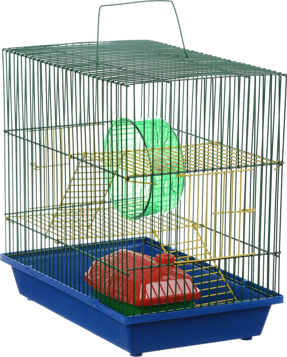Клетка для грызунов ЗооМарк, 3-этажная, цвет: синий поддон, зеленая решетка, желтые этажи, 36 х 23 х 34,5 см. 135ж135ж_синий, зеленыйКлетка ЗооМарк, выполненная из полипропилена и металла, подходит для мелких грызунов. Изделие трехэтажное, оборудовано колесом для подвижных игр и пластиковым домиком. Клетка имеет яркий поддон, удобна в использовании и легко чистится. Сверху имеется ручка для переноски. Такая клетка станет уединенным личным пространством и уютным домиком для маленького грызуна.