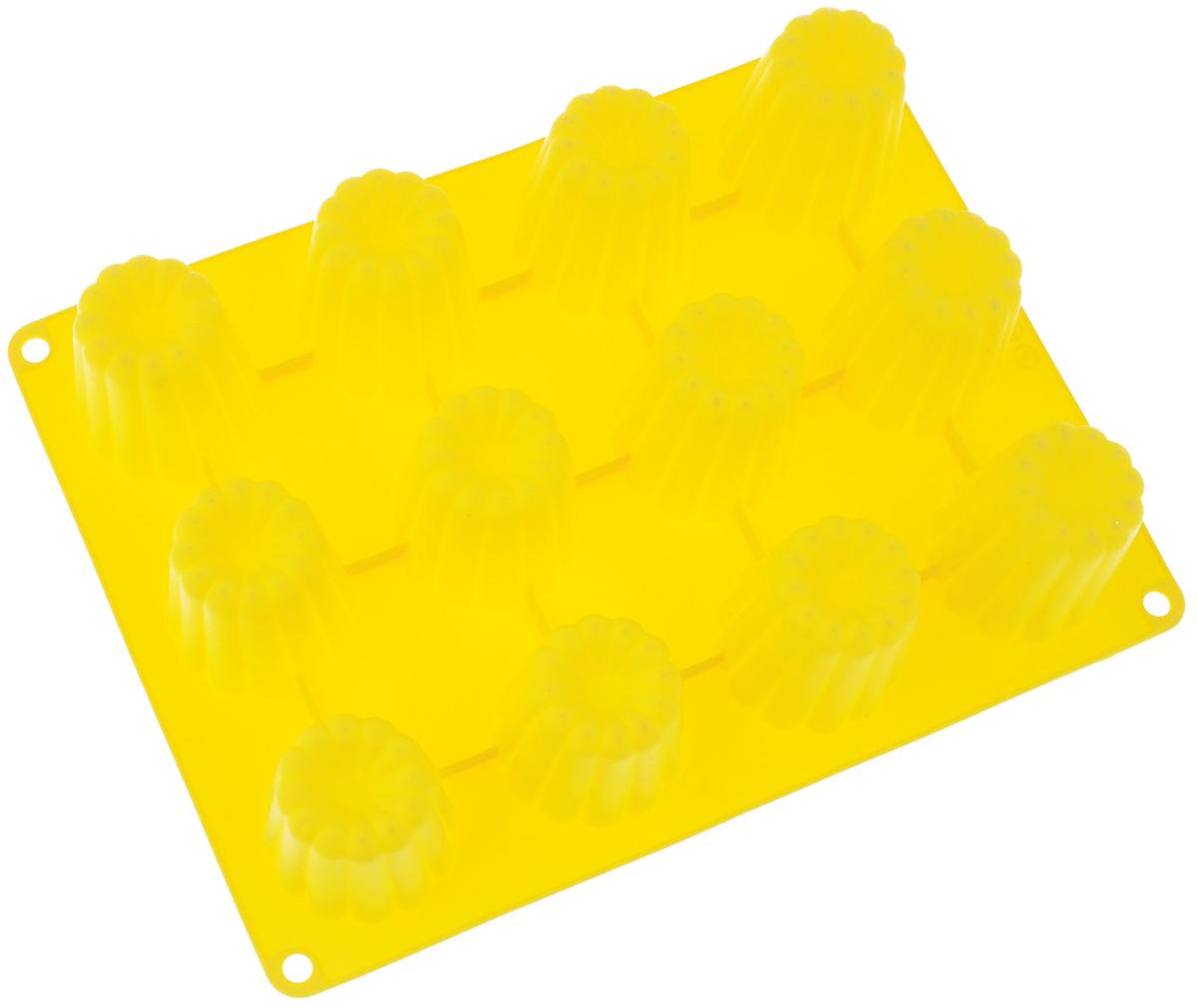 Форма для выпечки Taller Кекс, цвет: желтый, 12 ячеекTR-6211_желтыйФорма для выпечки Taller Кекс изготовлена из высококачественного силикона. Изделия из силикона выдерживают температуру от -20°С до +220°С, очень удобны в использовании: пища в них не пригорает и не прилипает к стенкам, форма легко моется. Форма обладает эластичными свойствами: складывается без изломов, восстанавливает свою первоначальную форму. Форма содержит 12 одинаковых ячеек. Порадуйте своих родных и близких любимой выпечкой в необычном исполнении. Подходит для приготовления в микроволновой печи и духовом шкафу при нагревании до +220°С; для замораживания до -20°С и чистки в посудомоечной машине. Размер формы: 29 х 22 см. Размер ячейки: 5,2 х 5,2 см. Высота стенок: 5 см. Количество ячеек: 12 шт.