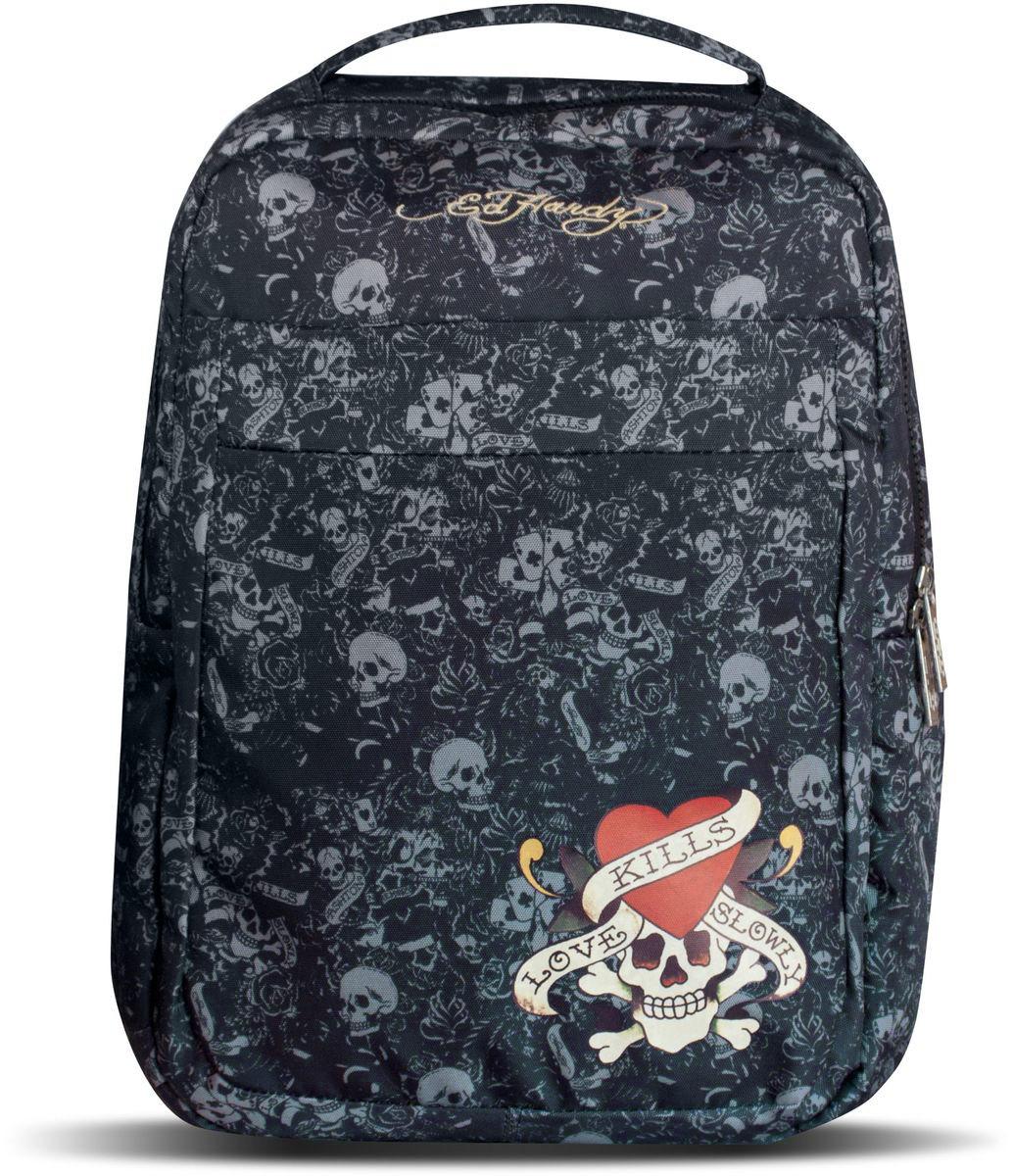 Ed Hardy Рюкзак детский цвет черный серый29190Детский рюкзак Ed Hardy - это красивый и удобный рюкзак, который подойдет всем, кто хочет разнообразить свои будни. Рюкзак выполнен из плотного материала и оформлен яркой аппликацией с черепом и сердцем. Рюкзак имеет одно основное вместительное отделения на молнии. Внутри отделения расположен мягкий карман на хлястике с липучкой, три открытых кармана и два фиксатора для канцелярских принадлежностей. На лицевой стороне расположен объемный накладной карман на молнии. Рюкзак также оснащен удобной и прочной ручкой для переноски. Широкие лямки можно регулировать по длине. Рюкзак снабжен светоотражающими вставками. Рюкзак снабжен светоотражающими вставками. Многофункциональный детский рюкзак станет незаменимым спутником вашего ребенка.
