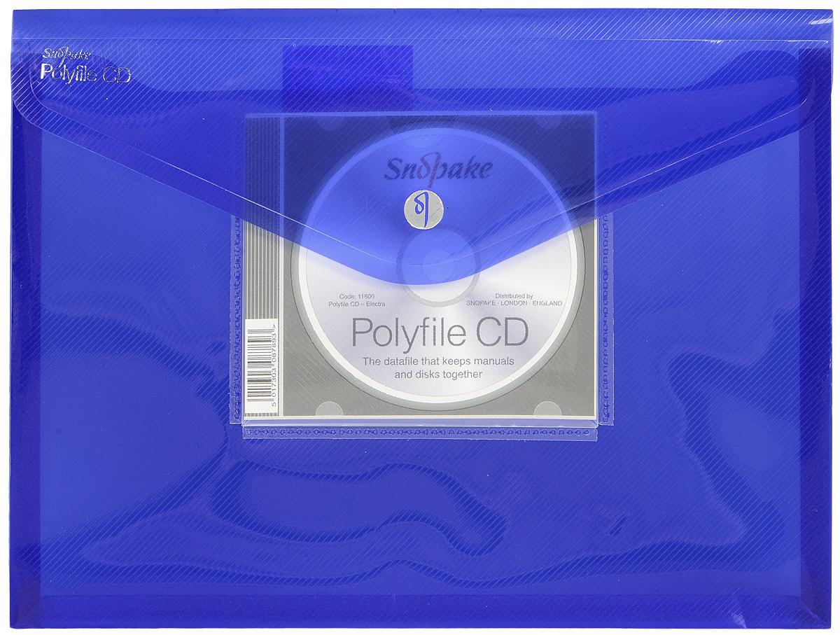 Snopake Папка-конверт Electra цвет синий формат А4K11800_синий(K11800) Папка Electra на липучке А4 с карманом для CD цвет синий