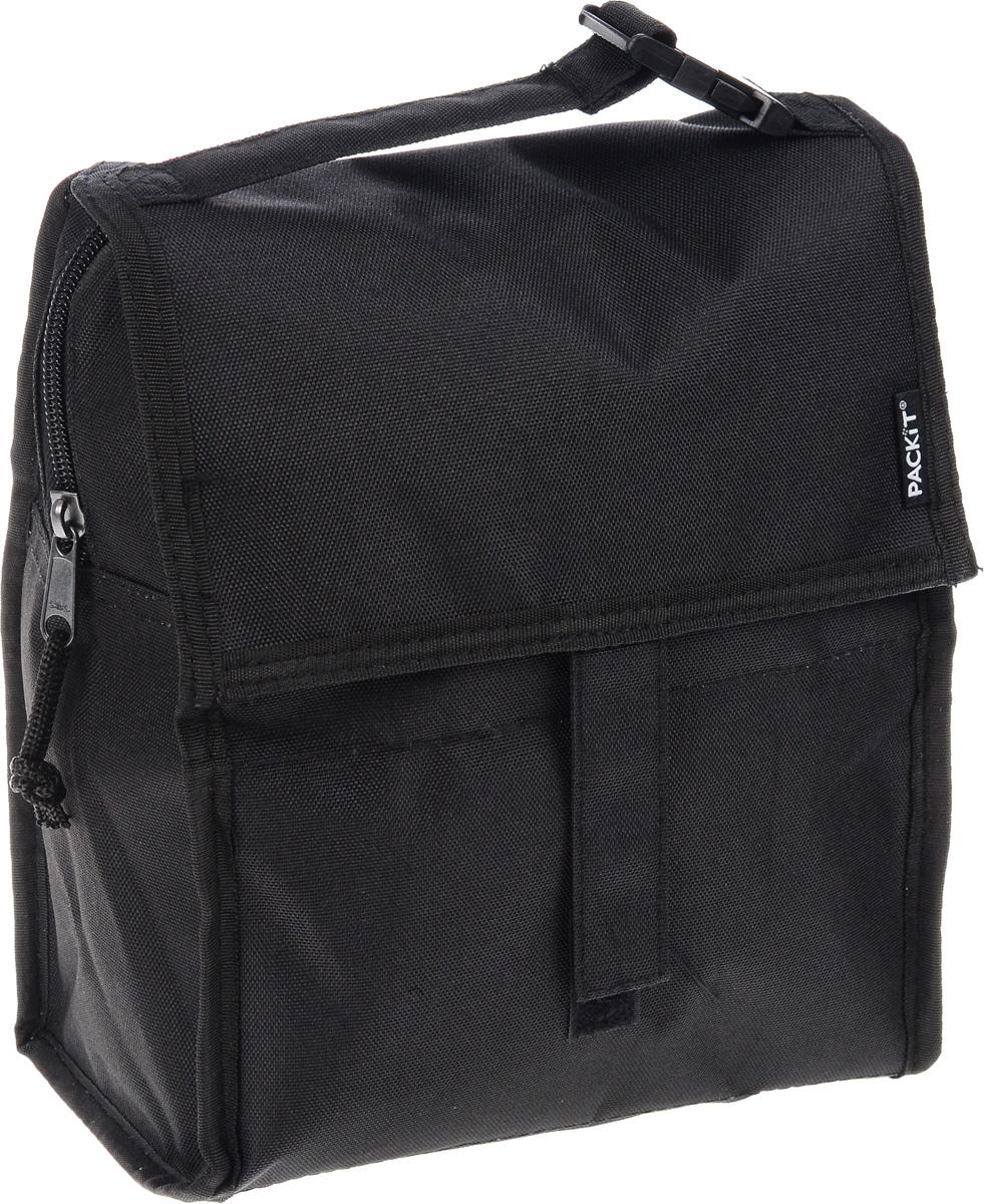 """Сумка-холодильник Packit """"Lunch Bag"""", складная, цвет: черный, 6,5 л"""