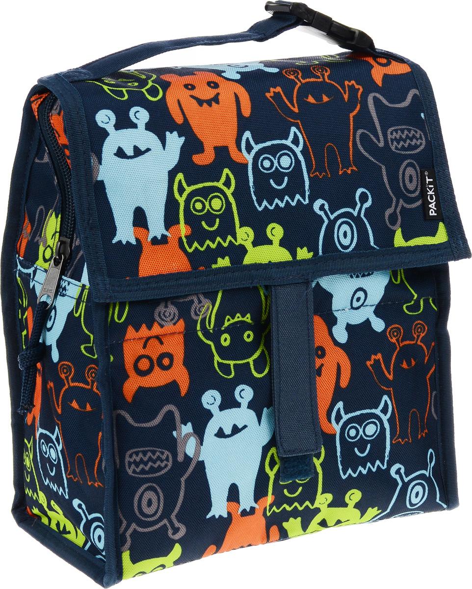 Сумка-холодильник Packit Lunch Bag, складная, цвет: темно-синий, оранжевый, голубой, 4,5 л. 0005Packit0005Сумка-холодильник Packit Lunch Bag предназначена для транспортировки и хранения продуктов и напитков. Охлаждает продукты как холодильник. Сумка изготовлена из ПВХ, BPA-Free (без содержания бисфенол А), внутренняя поверхность - из специального термоизоляционного материала, который надежно удерживает холод внутри. Для удобной переноски сумка снабжена ручкой с пластиковой защелкой. Сумка-холодильник закрывается на застежку-молнию, клапаном и фиксируется липучками. Сохраняет температуру до 10 часов. Размер сумки (в разложенном виде): 21 х 13,5 х 24 см. Размер сумки (в сложенном виде): 21 х 6 х 13 см.