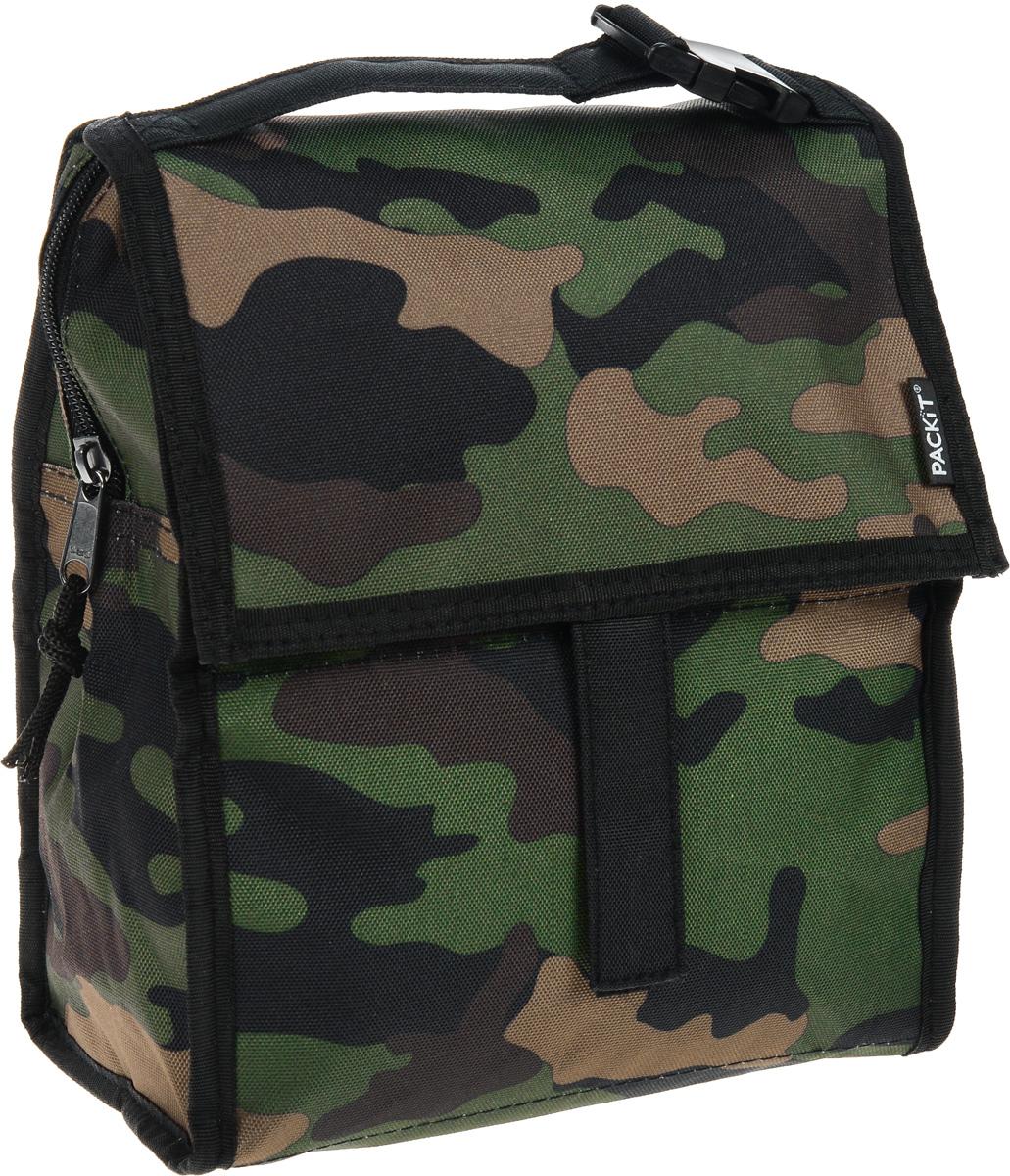 Сумка-холодильник Packit Lunch Bag, складная, цвет: хаки, 4,5 л. 0008Packit0008Сумка-холодильник Packit Lunch Bag предназначена для транспортировки и хранения продуктов и напитков. Охлаждает продукты как холодильник. Сумка изготовлена из ПВХ, BPA-Free (без содержания бисфенол А), внутренняя поверхность - из специального термоизоляционного материала, который надежно удерживает холод внутри. Для удобной переноски сумка снабжена ручкой с пластиковой защелкой. Сумка-холодильник закрывается на застежку-молнию, клапаном и фиксируется липучками. Сохраняет температуру до 10 часов. Размер сумки (в разложенном виде): 21 х 13,5 х 24 см. Размер сумки (в сложенном виде): 21 х 6 х 13 см.