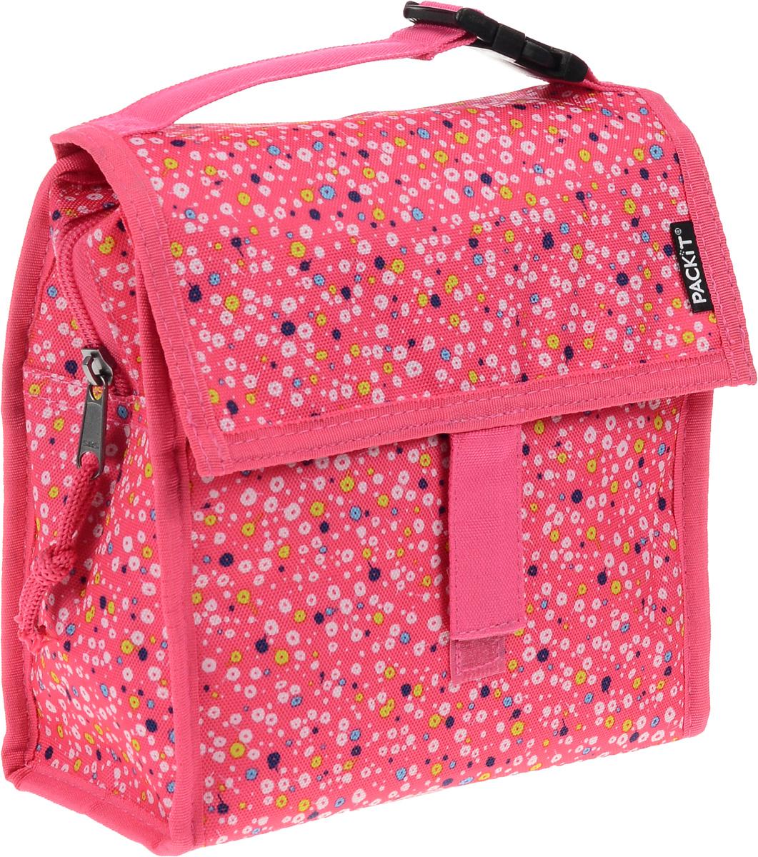 Сумка-холодильник Packit Lunch Bag, складная, цвет: розовый, белый, синий, 2 лPackit0010Сумка - холодильник Packit Lunch Bag предназначена для транспортировки и х ранения продуктов и напитков. Сумка изготовлена из ПВХ, BPA - Free (без содержания бисфенол А), внутренняя поверхность - из специального термоизоляционного материала, который надежно удерживает холод внутри. Для удобной переноски сумка снабжена ручкой с пластиковой защелкой. Сумка - холодильник закрывается на застежку молнию и фиксируется липучками. Охлаждение содержимых в сумке продуктов в течение 10-12 часов. Рекомендуется ручная стирка. Размер сумки: 20 х 9,5 х 19 см.