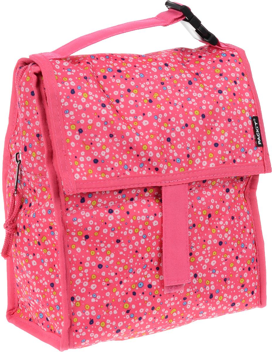 """Сумка-холодильник Packit """"Lunch Bag"""", складная, цвет: розовый, белый, синий, 4,5 л"""