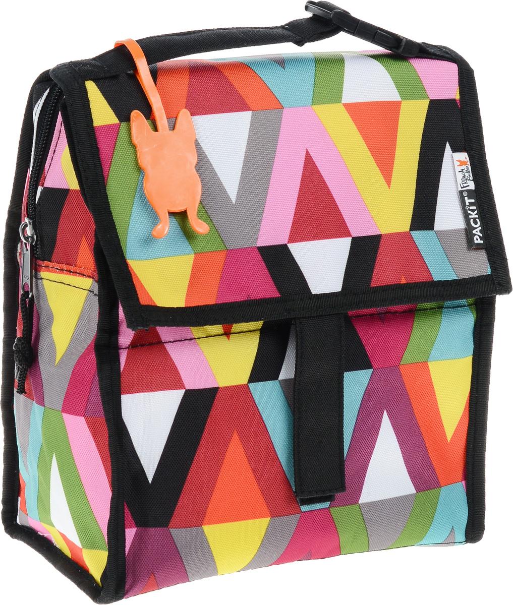 """Сумка-холодильник Packit """"Lunch Bag"""", складная, цвет: черный, розовый, зеленый, 4,5 л. 0007"""