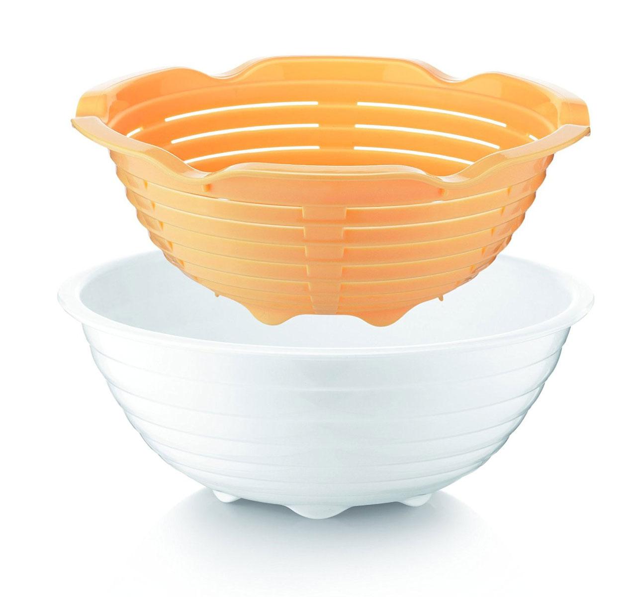 Корзинка с блюдом для домашнего хлеба Tescoma DELLA CASA. 643160643160Отлично подходит для приготовления домашнего хлеба. Перфорированная формочка в виде корзинки придает нужную форму буханке хлеба, и тесто поднимается быстрее. Формочка изготовлена из высокостойкого пластика. Пригодна для мытья в посудомоечной машине. Инструкция с рецептами внутри.