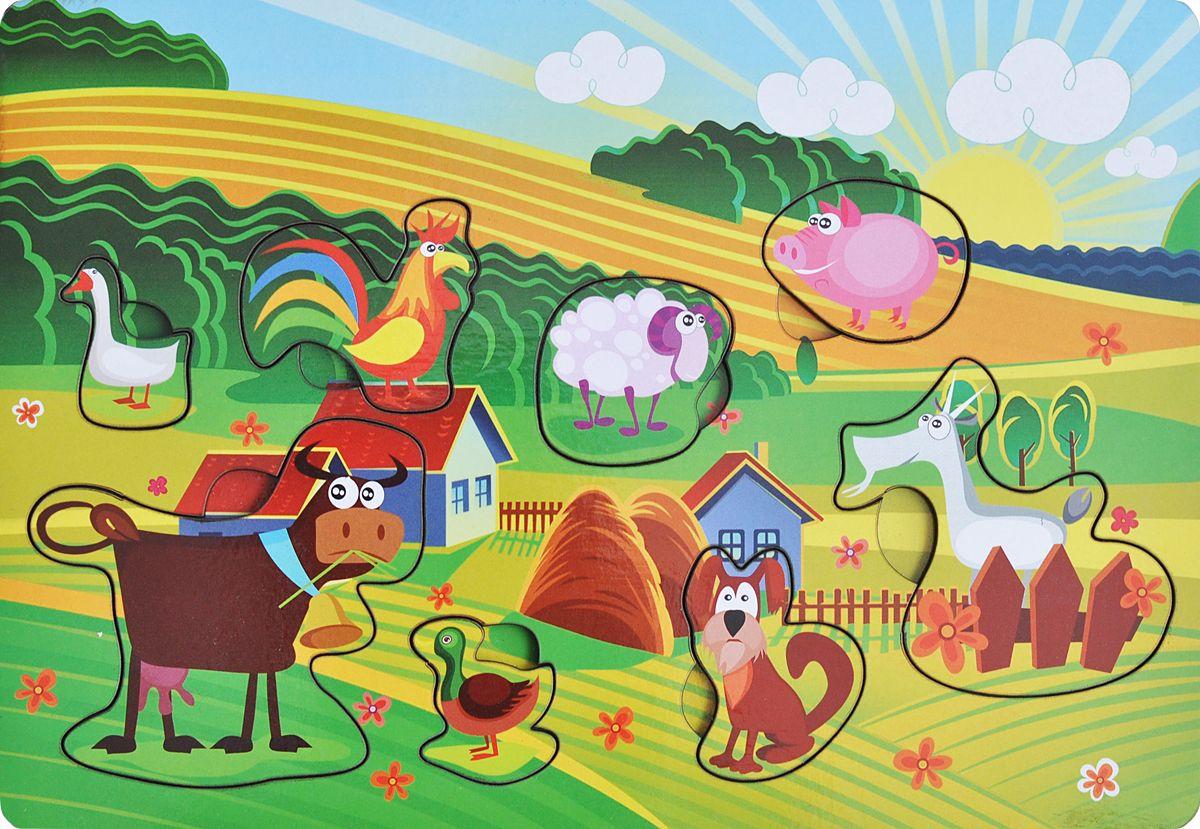 Фабрика Мастер игрушек Пазл для малышей Веселая фермаIG0010Чудесная рамка-вкладыш станет первым пазлом для Вашего ребенка. Эта простая, но увлекательная игрушка обязательно привлечет внимание малыша. Картинки такие интересные и яркие. Задача игры заключается в следующем. Надо разложить деревянные фигурки по своим местам, в специальные углубления - дощечки.