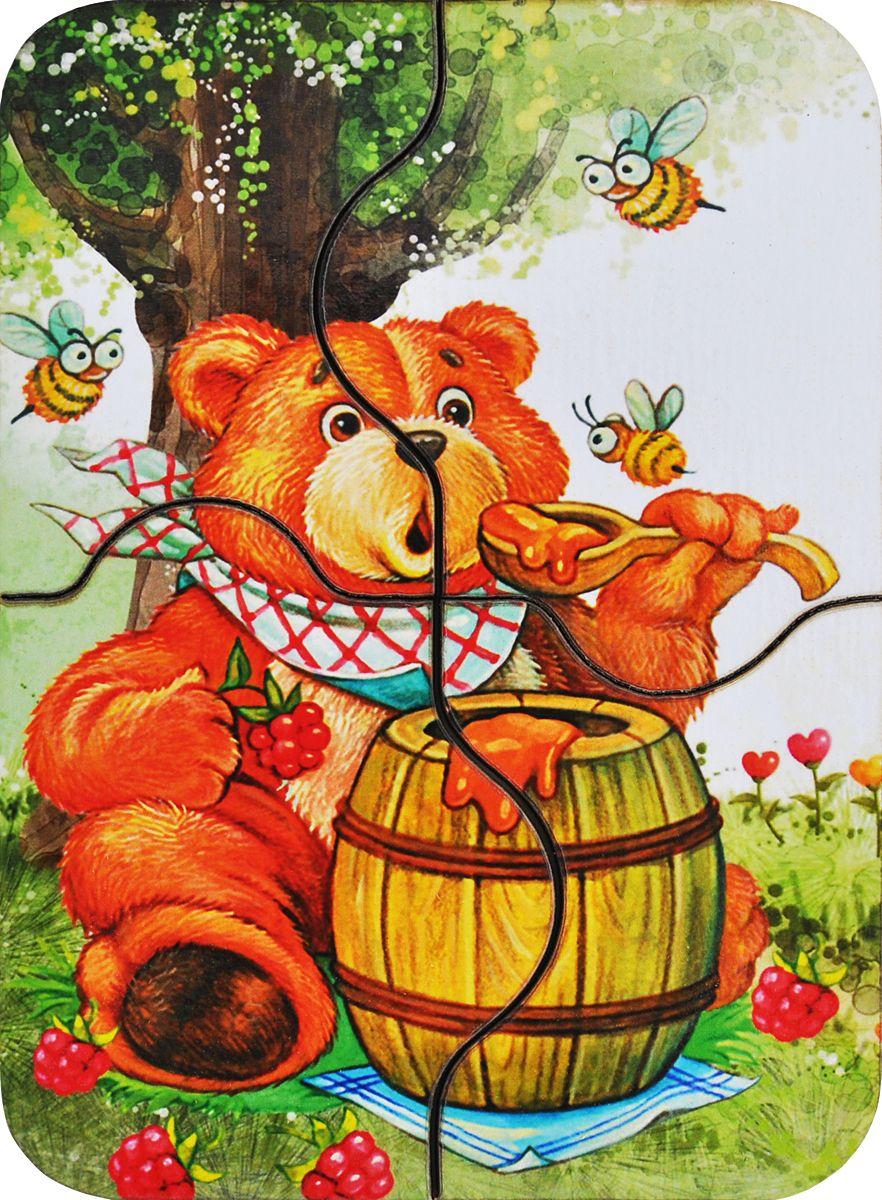 Фабрика Мастер игрушек Пазл для малышей Медвежонок и медIG0042Чудесная мини-пазл станет первым пазлом для Вашего ребенка. Состоит из 4-х частей, Медвежонок и мед