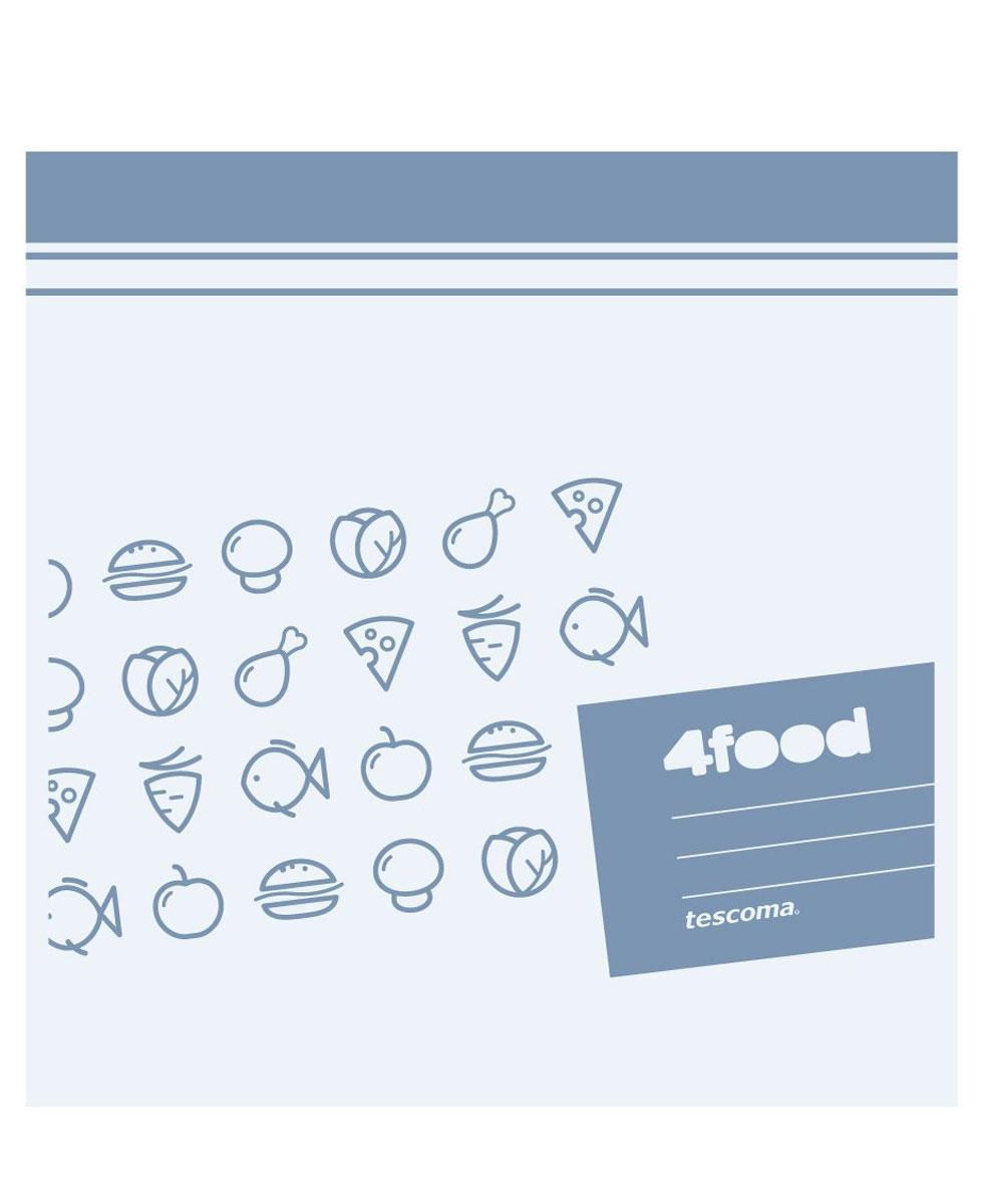 Пакеты для хранения продуктов Tescoma 4Food, 20 x 20 см, 20 шт897024Пакеты Tescoma 4Food, изготовленные из высококачественного прочного пластика с двойным уплотнением, предназначены для хранения продуктов. На самих пакетах можно сделать надпись маркером, которая легко стирается влажной губкой. Специальная застежка делает пакеты абсолютно герметичными. Пакеты для хранения продуктов Tescoma 4Food - удобный и практичный вид современной упаковки, предназначенный для хранения продуктов. Подходит для использования холодильниках, морозильных камерах и в микроволновой печи. Размер пакетов: 20 х 20 см.