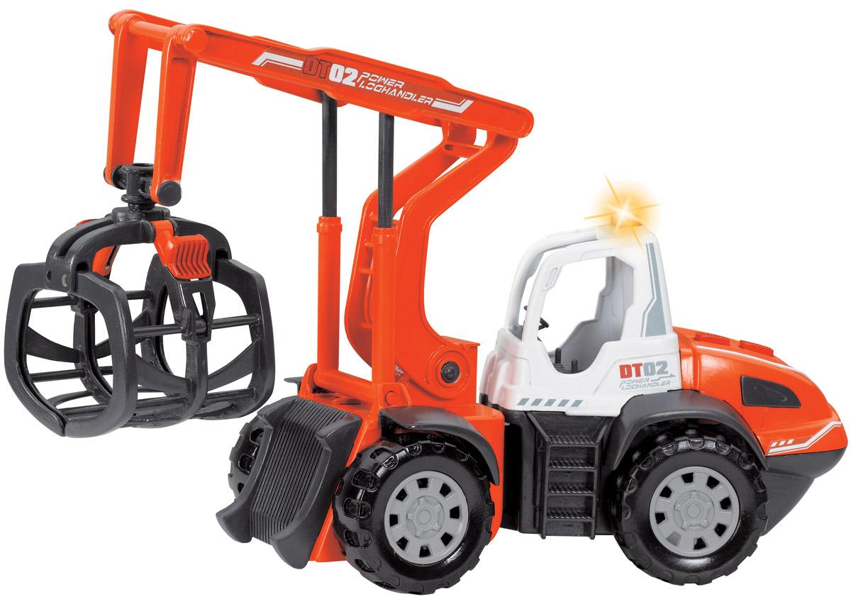 Dickie Toys Спецтехника Погрузчик бревен3413428Модель Dickie Toys Погрузчик бревен выполнена в виде колесного экскаватора для погрузки бревен DT02. Такая модель понравится не только ребенку, но и взрослому коллекционеру, и приятно удивит вас высочайшим качеством исполнения. Корпус крана, кабина и колеса выполнены из прочного яркого пластика. У погрузчика на капоте расположены две кнопки, при нажатии на которые опускается и поднимается захват для бревен и стрела. Движение происходит под характерный звук работающего механизма и световые эффекты. Колеса у погрузчика со свободным ходом. Модель станет не только интересной игрушкой для ребенка, интересующегося агротехникой, но и займет достойное место в коллекции. Для работы требуются 2 батарейки АА (комплектуется демонстрационными).