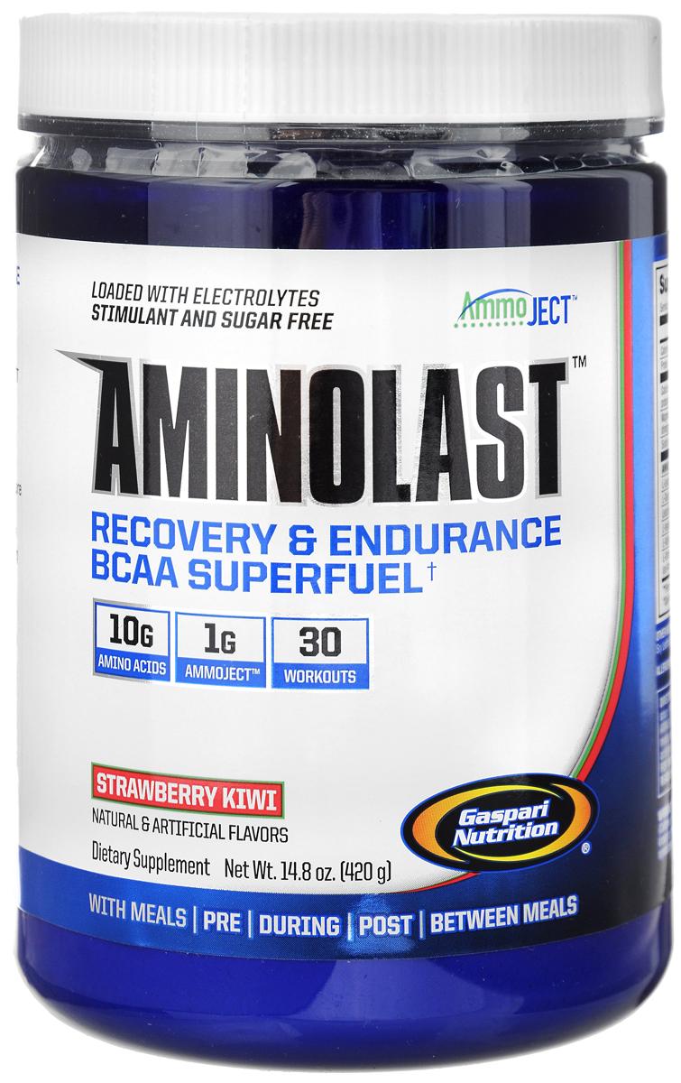 ВСАА с расширенной матрицей Gaspari Nutrition Aminolast, клубника-киви, 420 гG8434ВСАА с расширенной матрицей Gaspari Nutrition Aminolast ускоряет восстановление и снижает болезненность в мышцах, содержит 10 грамм качественных аминокислот в порции, восполняет потерю электролитов. Одна банка рассчитана на 30 тренировок. Аминокислотный препарат обладает великолепным вкусом и открывает новую страницу в истории спортивного питания. Aminolast поможет вам добиться поставленных целей. Взяв только лучшие ингредиенты и ни грамма искусственных красителей, Gaspari Nutrition создали превосходное супертопливо из ВСАА для восстановления и выносливости. Вы тренируетесь на пределе человеческих возможностей, и мышцам приходится за это расплачиваться. Aminolast с фирменной технологией Ammoject является единственным препаратом, который обеспечивает организм высокими дозировками аминокислот ВСАА, обогащенными лейцином, полипептидными молекулами, противосудорожными электролитами и матрицей Ammoject, которая помогает вашим мышцам...