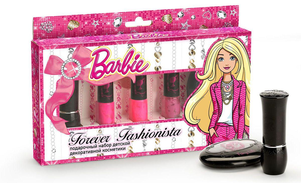 Barbie Набор декоративной косметики Модница Навсегда32425Гламурная красотка Барби блистает на каждой вечеринке! Теперь быть звездой, как Барби, может каждая девочка! Безупречный макияж подчеркнет твои достоинства и сделает образ незабываемым! Безопасная детская косметика не вредит нежной детской коже и минимизирует вероятность возникновения аллергических реакций. Состав набора: - Бальзам для губ детский «Candy Kiss» - Лак для ногтей детский «Love Perfect» на водной основе (смывается без ацетона) - Лак для ногтей детский « Love Fairy» на водной основе (смывается без ацетона) - Лак для ногтей детский « Love Glam» на водной основе (смывается без ацетона) - Тени для век детские «Fairy Tale» (тона: 01-04)