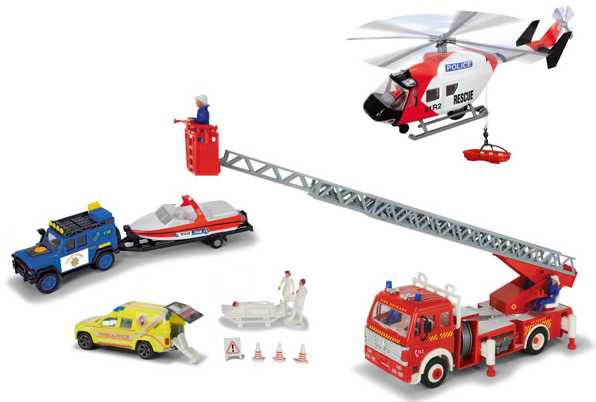 Dickie Toys Игровой набор Спасательная служба3314558Игровой набор Спасательная служба поможет вашему ребенку почувствовать себя настоящим спасателем, участвующим в спецоперациях. Набор состоит из вертолета, пожарной машины с краном, лодки на прицепе и двух машинок. Дополняют набор 4 фигурки, носилки, люлька для перевозки вертолетом и дорожные знаки. Вся техника выполнена из прочного яркого пластика и оснащена опознавательными знаками и надписями с названием своей службы. Пропеллер у вертолета крутится, стрела у пожарной машины выдвигается вперед на 1 метр. У желтой машинки открывается задняя дверь, внутрь можно поместить носилки с больным человеком. Техника выполнена в масштабе 1:43. Ваш ребенок с удовольствием будет играть с набором, придумывая различные истории. Порадуйте его таким замечательным подарком!
