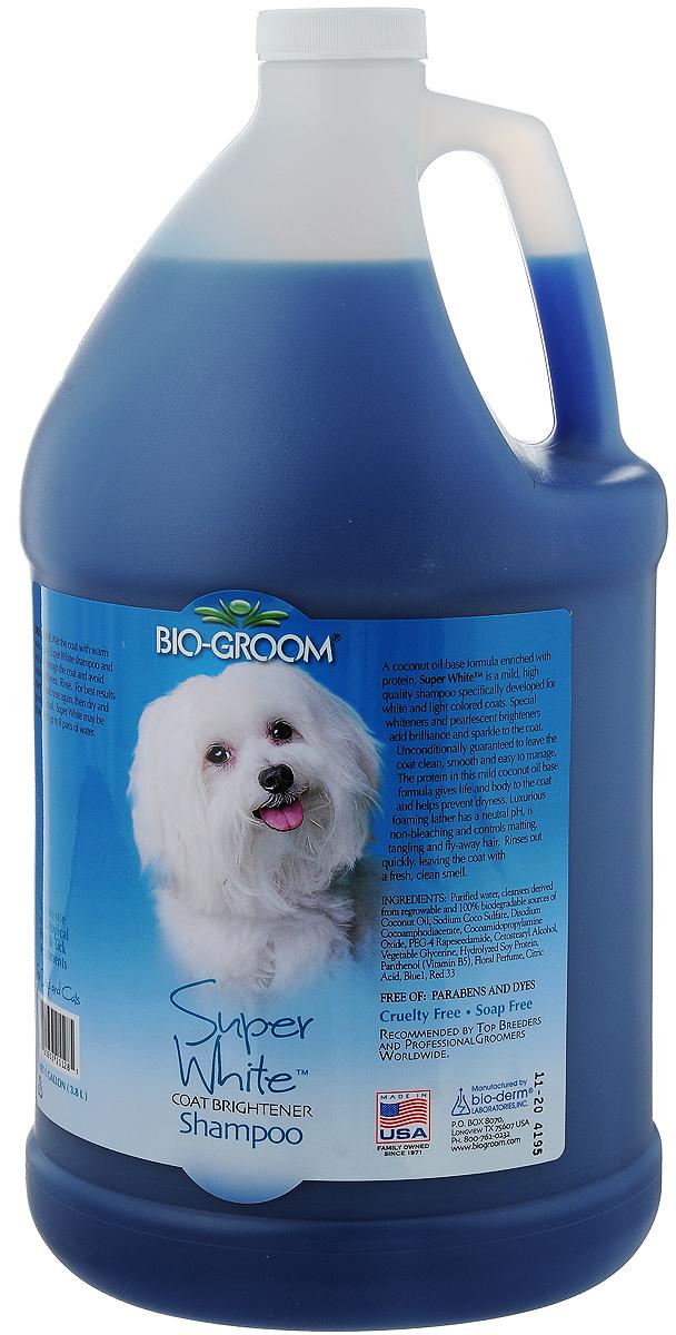 Шампунь Bio-Groom Super White, для собак и кошек, супербелый, 3,8 л21128Оттеночный белый шампунь Bio-Groom Super White, предназначенный для собак и кошек, мягко осветляет шерсть животного, одновременно бережно очищая её от загрязнения. Протеин, содержащийся в составе шампуня, увлажняет кожу и шерсть животного, предотвращая её от спутывания. Шампунь легко смывается, восстанавливая естественный здоровый блеск волос вашего питомца. Концентрирован 1:4. Инструкция по применению: Намочите шерсть. Нанесите шампунь, взбейте обильную пену. Используйте концентрированный шампунь или в разведенном виде, в зависимости от состояния шерсти. Сполосните, затем высушите и продолжите подготовку как обычно. Объём 3,8 л.
