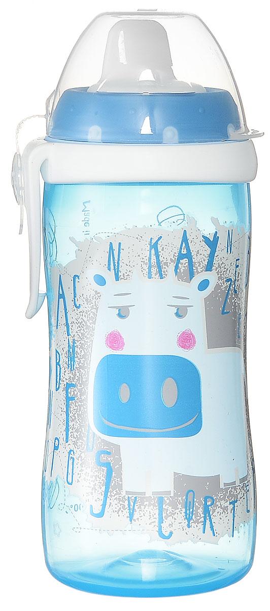NUK Бутылочка-поильник Kiddy Cup от 12 месяцев цвет голубой 300 мл10750136_голубойПоильник NUK Kiddy Cup разработан специально для малышей от 1 года для легкого перехода от груди к бутылочке, а от бутылочки к самостоятельному питью. Поильник выполнен из прочного полипропилена без содержания бисфенола А. Насадка для питья очень просто снимается с поильника и легко моется. Защитный колпачок имеет гибкое соединение с верхушкой поильника, поэтому он никогда не потеряется. Благодаря ультра-легкому эргономичному дизайну бутылочку-поильник удобно держать как взрослому, так и ребенку, а пластиковая клипса позволит легко и надежно прикрепить бутылочку к коляске, сумке или одежде. Поильник и все его составные части можно мыть в посудомоечной машине. Совместим с аксессуарами для бутылочек NUK First Choice.