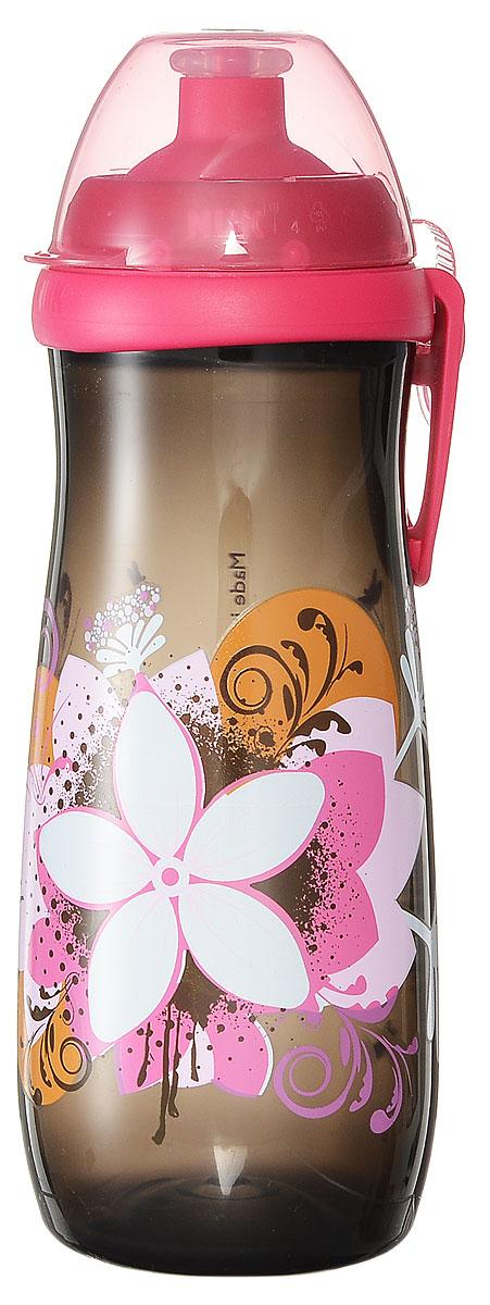 NUK Бутылочка-поильник Sports Cup с силиконовой насадкой от 36 месяцев цвет темно-серый 450 мл 10750775_серый, розовый, цветы