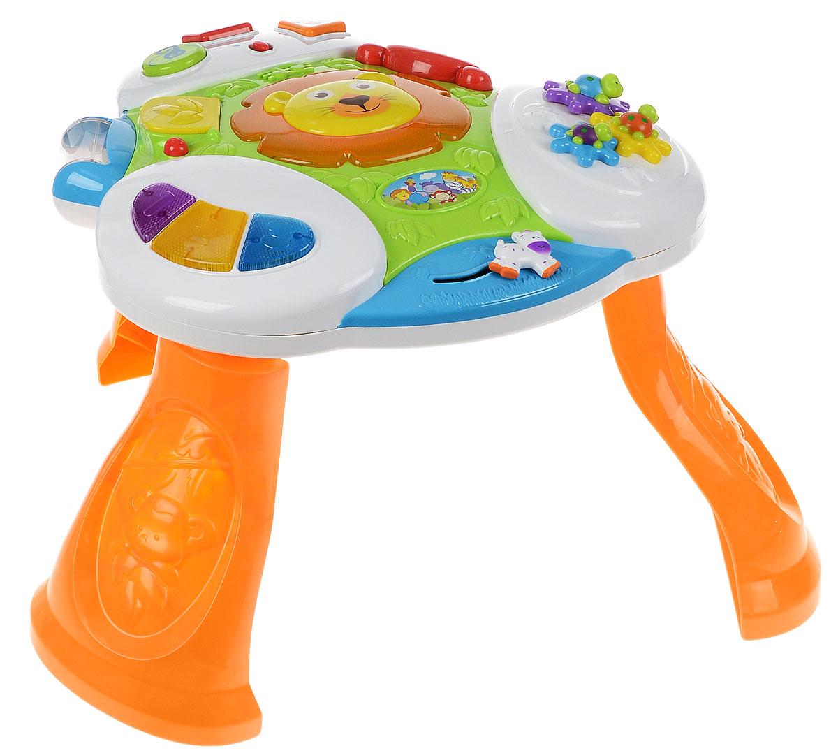 Kiddieland Развивающая игрушка Интерактивный столKID 050138Яркая развивающая игрушка Kiddieland Интерактивный стол обязательно порадует малыша приятными мелодиями, веселым мерцанием и забавными звуками. Множество интерактивных заданий расположилось на всей поверхности стола. Это и яркое пианино с тремя разноцветными клавишами, и прозрачный ролик-погремушка с шариками внутри, и фигурка зебры, которая двигается, издавая громкий треск. Стол оборудован безопасным зеркальцем в виде головы мишки. В центре поместился улыбающийся львенок, нажав на которого можно услышать веселую мелодию и полюбоваться на мерцание гривы. На одной из сторон расположились черепашки-шестеренки и кольца с разнообразной фактурой для развития мелкой моторики. На другой стороне стола вмонтированы геометрические фигуры с нарисованными животными, при нажатии на которые слышится их голос. И еще: окошко для игры в прятки и слайдер-зебра. Игрушка оборудована специальными съемными ножками из прочного пластика. Игрушка способствует развитию мелкой моторики,...
