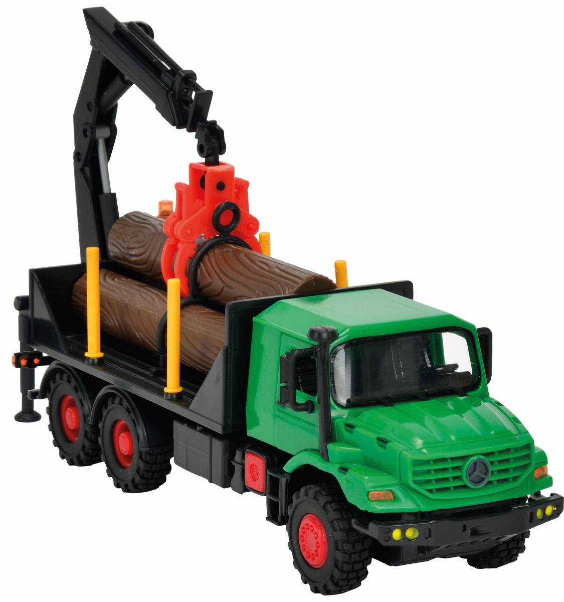 Dickie Toys Грузовик с манипулятором Mercedes-Benz Zetros3824007Грузовик с манипулятором Dickie Toys Mercedes-Benz Zetros непременно понравится вашему ребенку. Игрушка выполнена из прочного пластика в виде уменьшенной копии мощного грузовика с механическим манипулятором Mercedes-Benz Zetros в масштабе 1:43. Дверцы кабины и капот открываются, манипулятор сгибается и поворачивается, клешни манипулятора раздвигаются. Прорезиненные колеса обеспечивают отличное сцепление с любой поверхностью пола. Машинка оснащена инерционным механизмом: достаточно немного подтолкнуть машинку вперед или назад, а затем отпустить, и она сама поедет в этом же направлении. В комплекте с машинкой идут три пластиковых бревна, которые можно использовать для погрузки и разгрузки. С этой игрушкой ваш малыш будет часами занят игрой. Порадуйте его таким замечательным подарком!
