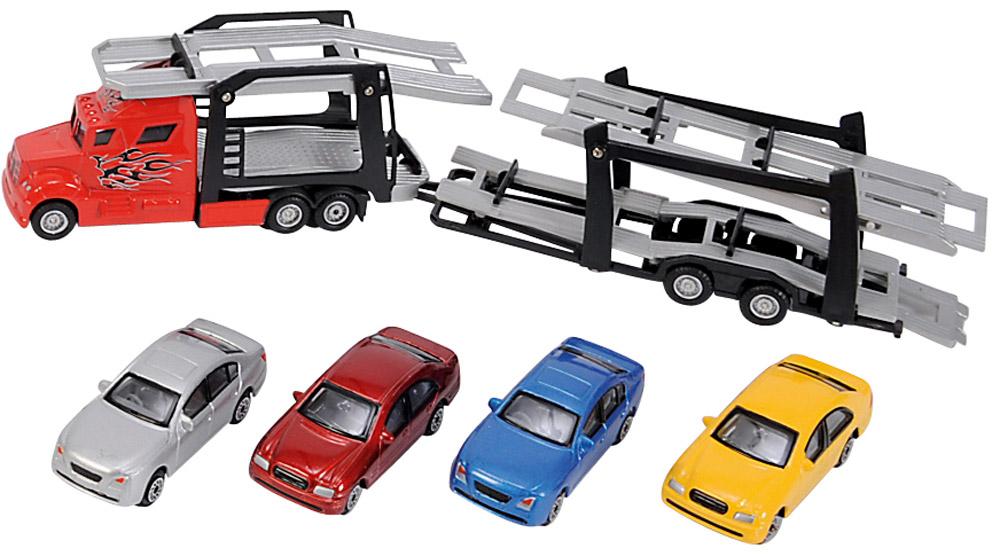 Dickie Toys Набор машинок Car Trailer 5 шт3745000Набор машинок Dickie Toys Car Trailer понравится любому мальчику. В набор входит автовоз и 4 машинки. Кабина автовоза и кузова машинок выполнены из металла с пластиковыми элементами. Прорезиненные колеса со свободным ходом обеспечивают плавность движения. Прицеп отсоединяется. Верхняя платформа прицепа может наклоняться вниз для удобной погрузки машинок. Пандусы выдвигаются. С этой игрушкой ваш малыш будет часами занят игрой. Порадуйте его таким замечательным подарком!