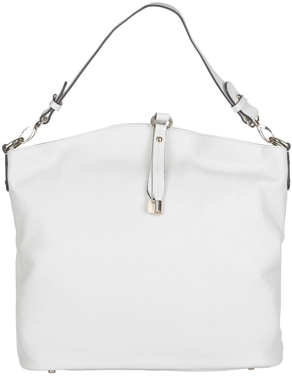 Сумка женская Fabretti, цвет: белый. N2530N2530-whiteСтильная женская сумка Fabretti выполнена из натуральной кожи с фактурным тиснением и дополнена декоративным хлястиком. Изделие содержит одно вместительное отделение, которое закрывается на застежку-молнию. Внутри расположено два накладных кармашка для мелочей, карман-средник на застежке-молнии и два врезных кармана на молнии. Снаружи, на задней стороне сумки, расположен врезной карман на застежке-молнии. Сумка оснащена ручкой. Дно сумки дополнено металлическими ножками. Оригинальный аксессуар позволит вам завершить образ и быть неотразимой.