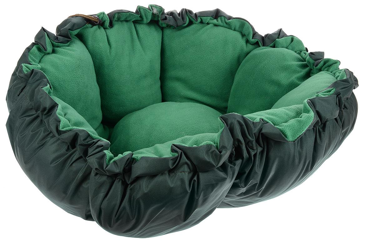 Лежак для животных ЗооМарк Тыква, цвет: темно-зеленый, диаметр 90 см4177_темно-зеленый, зеленыйЛежак ЗооМарк Тыква, выполненный из текстиля, обязательно понравится вашему питомцу. Он очень удобный и уютный. Ваш любимец сразу же захочет забраться на лежак, там он сможет отдохнуть и подремать в свое удовольствие. Приятная цветовая гамма сделает изделие оригинальным дополнением к любому интерьеру. С помощью затягивающегося шнурка вы можете сделать у лежака бортики. Диаметр лежака: 90 см. Высота: 10 см.