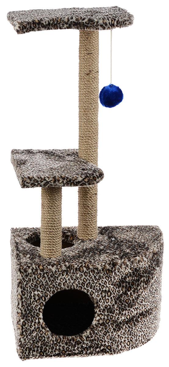 Домик-когтеточка ЗооМарк Мурзик, угловой, с полками, цвет: светло-коричневый, черный, бежевый, 51 х 37 х 99 см133_леопардовый, бежевыйДомик-когтеточка ЗооМарк Мурзик выполнен из высококачественного дерева и обтянут искусственным мехом. Изделие предназначено для кошек. Ваш домашний питомец будет с удовольствием точить когти о специальные столбики, изготовленные из джута. А отдохнуть он сможет либо на полках, либо в расположенном внизу домике. Общий размер: 51 х 37 х 99 см. Размер домика: 51 х 37 х 31 см. Размер полок: 36 х 26 см.