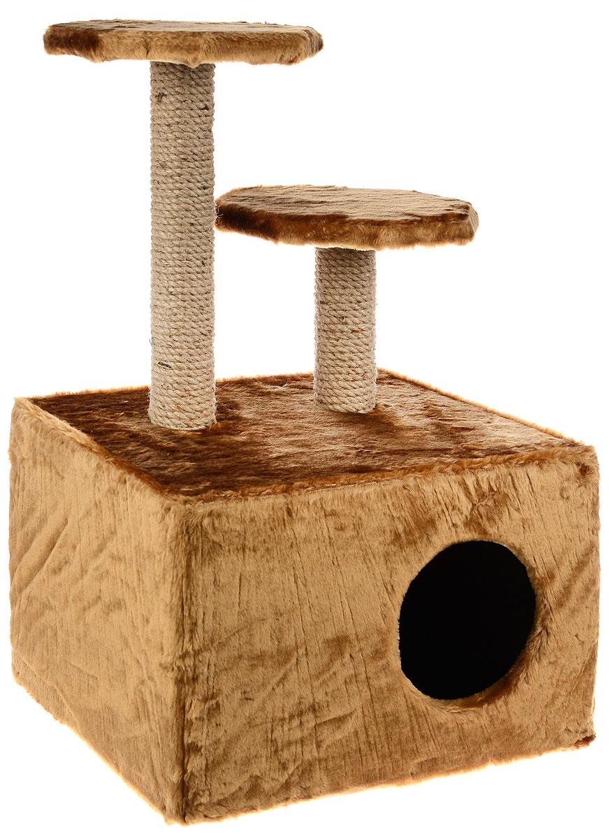 Домик для животных ЗооМарк, с когтеточкой, цвет: светло-коричневый, бежевый, 47 х 37 х 73 см120_светло-коричневыйДомик для животных ЗооМарк выполнен из высококачественного дерева и обтянут искусственным мехом. Изделие предназначено для кошек. Ваш домашний питомец будет с удовольствием точить когти о специальные столбики, изготовленные из джута. А отдохнуть он сможет либо на полках разной высоты, либо в расположенном внизу домике. Общий размер: 47 х 37 х 73 см. Размер домика: 47 х 37 х 31 см. Высота полок (от пола): 73 см, 52 см. Размер полок: 25 х 25 см.