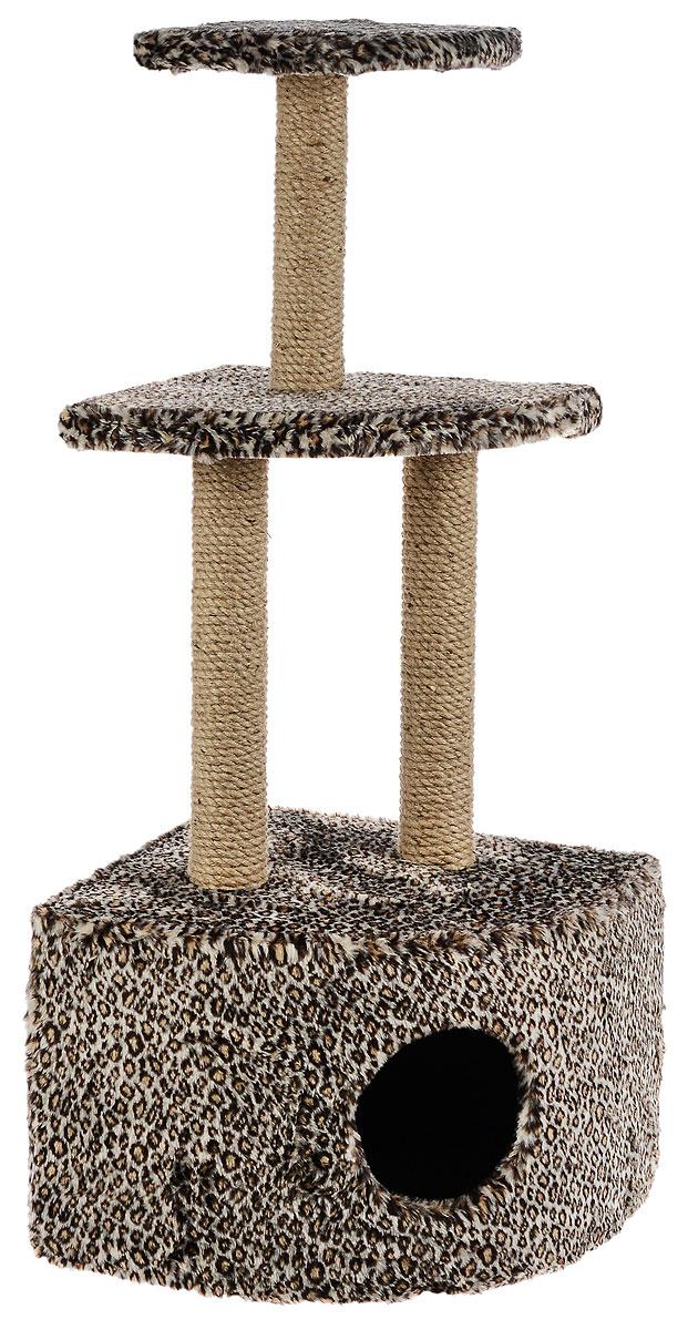 Домик-когтеточка ЗооМарк, угловой, 3-ярусный, цвет: коричневый, черный, бежевый, 42 х 42 х 105 см130_леопардовыйДомик-когтеточка ЗооМарк выполнен из высококачественного дерева и обтянут искусственным мехом. Изделие предназначено для кошек. Домик имеет 3 яруса. Ваш домашний питомец будет с удовольствием точить когти о специальные столбики, изготовленные из джута. А отдохнуть он сможет либо на полках, либо в расположенном внизу домике. Общий размер: 42 х 42 х 105 см. Размер домика: 42 х 42 х 31 см. Размер большой полки: 35 х 35 см. Размер малой полки: 25 х 25 см.