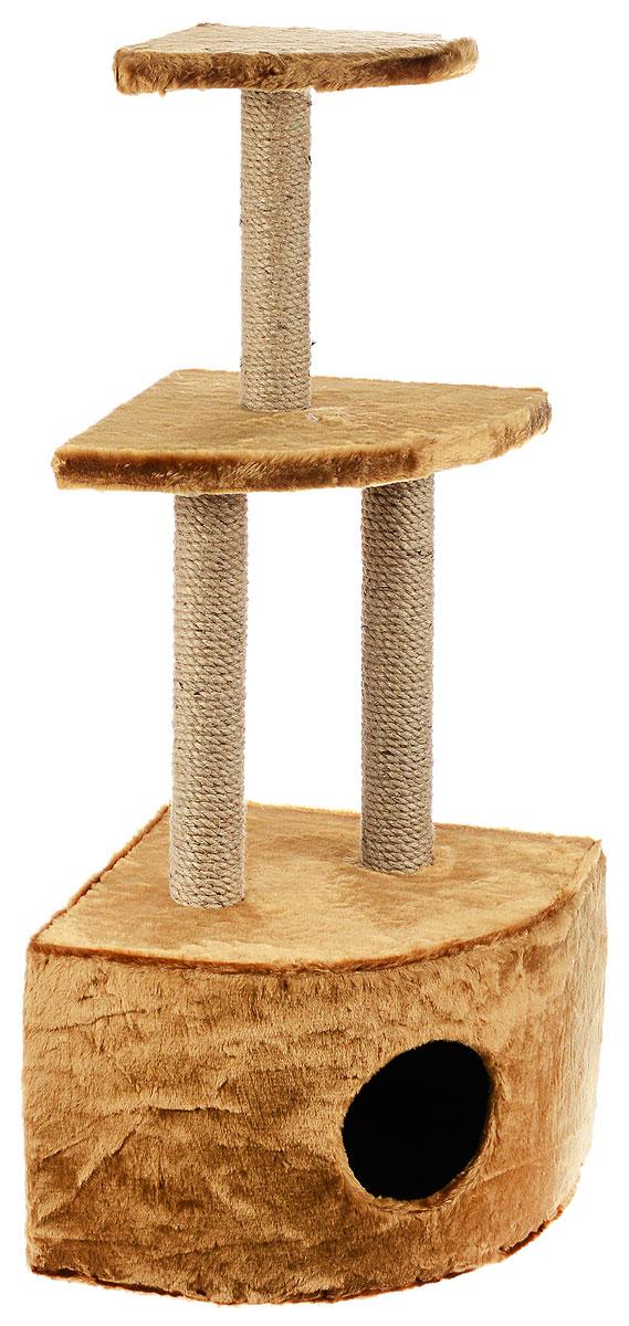 Домик-когтеточка ЗооМарк, угловой, 3-ярусный, цвет: светло-коричневый, бежевый, 42 х 42 х 105 см130_светло-коричневыйДомик-когтеточка ЗооМарк выполнен из высококачественного дерева и обтянут искусственным мехом. Изделие предназначено для кошек. Домик имеет 3 яруса. Ваш домашний питомец будет с удовольствием точить когти о специальные столбики, изготовленные из джута. А отдохнуть он сможет либо на полках, либо в расположенном внизу домике. Общий размер: 42 х 42 х 105 см. Размер домика: 42 х 42 х 31 см. Размер большой полки: 35 х 35 см. Размер малой полки: 25 х 25 см.