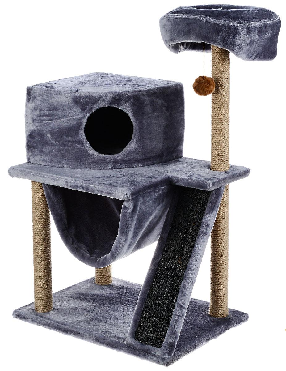 Игровой комплекс для кошек ЗооМарк Мурка, цвет: серый, бежевый, 60 х 45 х 120 см125_серыйИгровой комплекс для кошек ЗооМарк Мурка выполнен из высококачественного дерева и обтянут искусственным мехом. Изделие предназначено для кошек. Комплекс имеет 3 яруса. Ваш домашний питомец будет с удовольствием точить когти о специальные столбики, изготовленные из джута. Также точить когти поможет площадка, оснащенная вставкой из ковролина. А отдохнуть он сможет либо на полках, либо домике или гамаке. На одной из полок расположена игрушка, которая еще сильнее привлечет внимание питомца. Общий размер: 60 х 45 х 120 см. Размер домика: 37 х 37 х 25 см. Диаметр верхней полки: 30 см. Уважаемые покупатели! Обращаем ваше внимание на тот факт, что размеры могут незначительно отличаться в пределах 3-4 см в высоту и ширину.