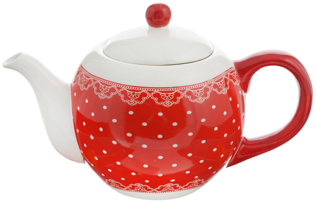 Чайник заварочный Loraine Красный узор, 950 мл. 2582025820Заварочный чайник Loraine изготовлен доломитовой керамики высокого качества. Изделие прекрасно подходит для заваривания вкусного и ароматного чая, травяных настоев. Оригинальный дизайн сделает чайник настоящим украшением стола. Он удобен в использовании и понравится каждому. Можно мыть в посудомоечной машине. Не боится низких температур. Диаметр чайника (по верхнему краю): 8,5 см. Диаметр основания чайника: 7 см. Высота чайника (без учета крышки): 11,5 см. Высота чайника (с учётом крышки): 15,5 см.