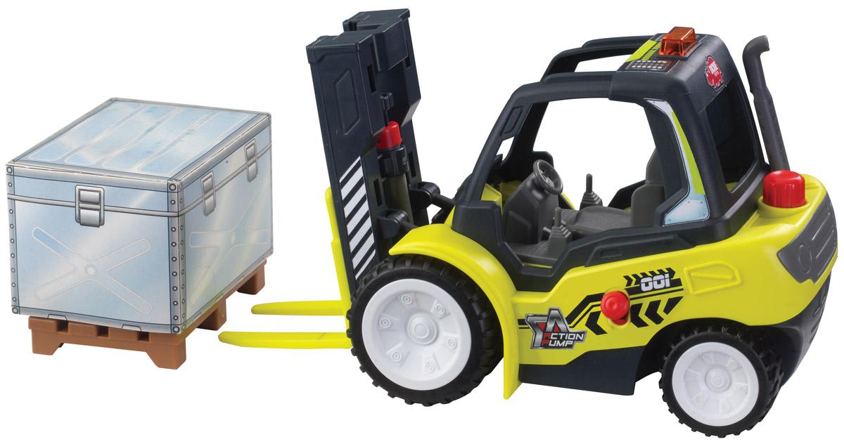 Dickie Toys Погрузчик с подъемным механизмом3805003Погрузчик Dickie Toys с подъемным механизмом непременно понравится вашему ребенку. Игрушка выполнена из прочного пластика в виде вилочного погрузчика с колесами со свободным ходом. Вилы погрузчика могут подниматься и опускаться с помощью помпового насоса. Для подъема используется кнопка на крыше погрузчика. Для опускания вил служит рычажок, расположенный сбоку на борту погрузчика. К погрузчику также прилагается пластиковая паллета и большой картонный ящик. С этой игрушкой ваш малыш будет часами занят игрой. Порадуйте его таким замечательным подарком!