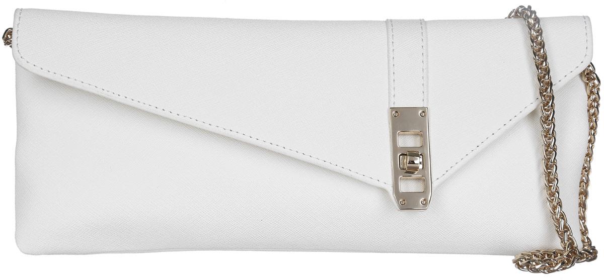 Сумка-клатч женская Leo Ventoni, цвет: белый. LV6044LV6044-whiteСтильная женская сумка-клатч Leo Ventoni выполнена из натуральной кожи с фактурным тиснением. Изделие содержит одно отделение, которое закрывается клапаном на застежку-вертушку. Внутри расположен один врезной карман на молнии. Снаружи, на задней стороне сумки, расположен врезной карман на магнитной застежке. Сумка оснащена удобным плечевым ремнем, который выполнен в виде цепочки. В комплекте с изделием поставляется фирменный чехол для хранения. Оригинальный аксессуар позволит вам завершить образ и быть неотразимой.