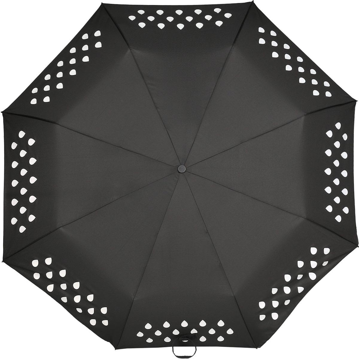 Зонт Reflective Suck UK, механический, 3 сложения, цвет: черный. SK UMBRELLA2SK UMBRELLA2Стильный механический зонт Reflective Suck UK в 3 сложения с надежным куполом защит вас в ненастную погоду. Каркас зонта выполнен из 8 металлических спиц, оснащен удобной рукояткой из алюминия, которая дополнена петлей. При намокании зонта орнамент на поверхности купола меняет цвет. Купол зонта выполнен из прочного полиэстера. К зонту прилагается чехол.
