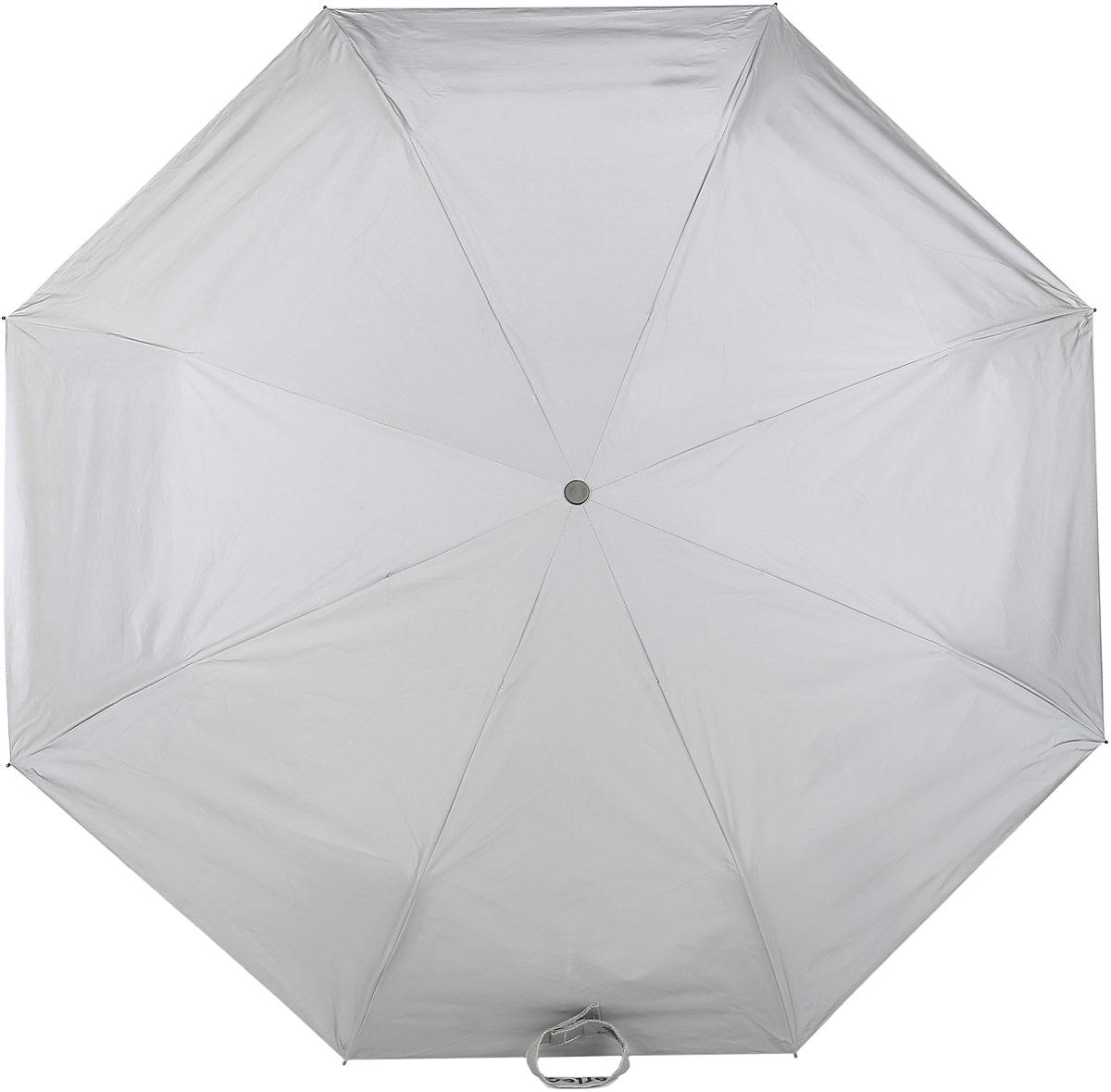 Зонт Reflective Suck UK, механический, 3 сложения, цвет: серый. SK UMBRELLAREF1SK UMBRELLAREF1Стильный механический зонт Reflective Suck UK в 3 сложения с светоотражающим куполом из полиэстера защит вас в ненастную погоду. Каркас зонта выполнен из 8 металлических спиц, оснащен удобной рукояткой из алюминия, которая дополнена петлей. Купол зонта выполнен из прочного полиэстера. К зонту прилагается чехол.