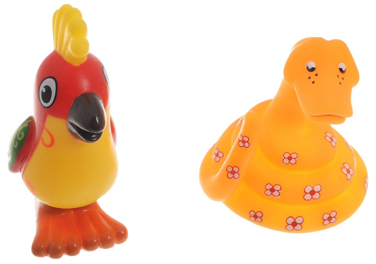 Играем вместе Набор игрушек для ванной Попугай и удав 2 шт144-145RUS-PVC_попугай, удавНабор игрушек для ванной Играем вместе Попугай и удав превратит купание вашего малыша в интересную и веселую игру. В набор входят две яркие фигурки героев мультфильма 38 попугаев: попугай и удав. С таким набором малыш сможет придумать множество веселых игр и историй. При сжатии игрушки забавно пищат, если набрать в них воды - будут пускать фонтанчики. Игрушки способствуют развитию внимательности, мелкой моторики рук, воображения, зрительного восприятия.