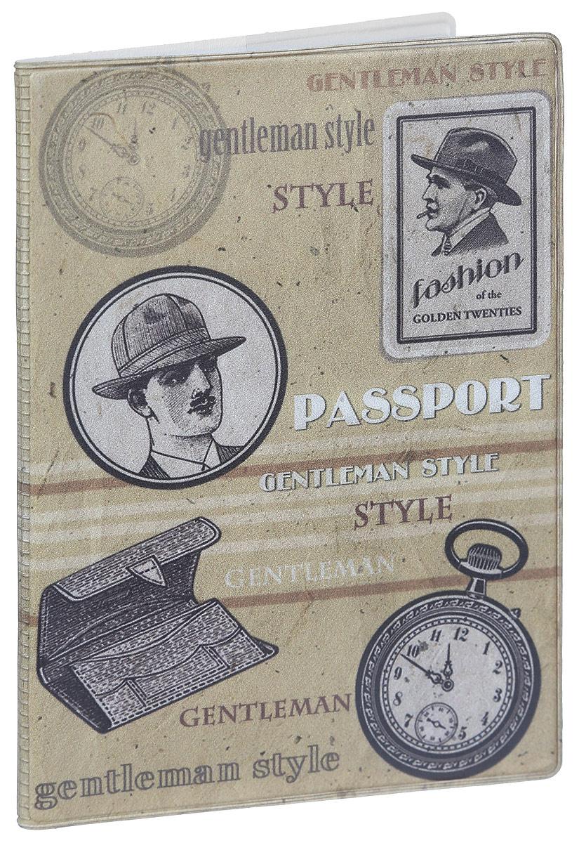 Обложка для паспорта Magic Home Джентльмен, цвет: бежевый. 4157141571Стильная обложка для паспорта Magic Home Джентльмен выполнена из поливинилхлорида, оформлена принтом с винтажным изображением. Внутри изделия расположены два прозрачных кармашка из ПВХ. Такая обложка станет отличным подарком для человека, который ценит качественные и практичные вещи.