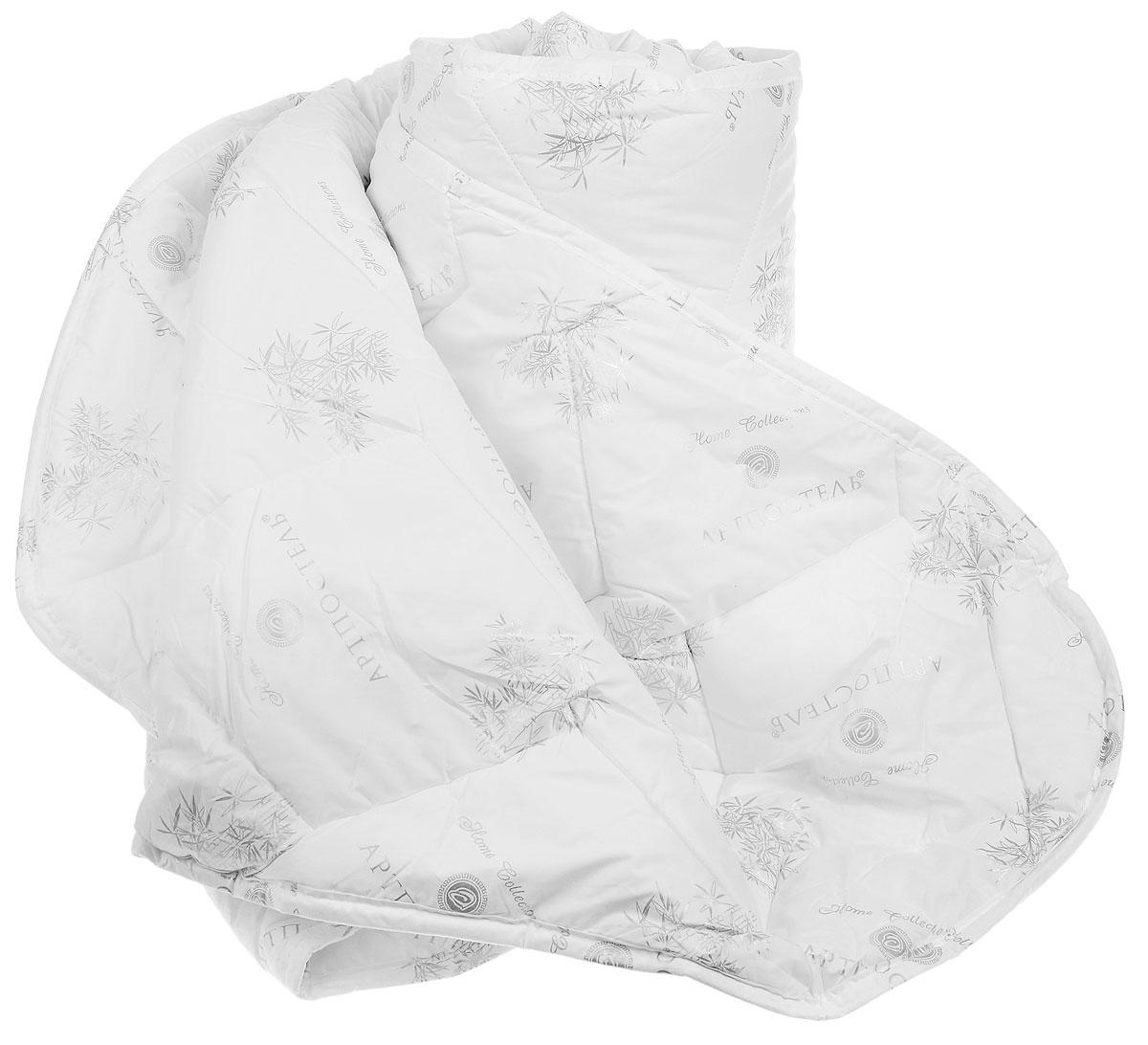 Одеяло Арт Постель, наполнитель: бамбуковые и полиэфирные волокна, 200 х 215 см2096мОдеяло Арт Постель обеспечит вам здоровый сон и комфорт. Чехол, выполненный из 100% хлопка (тик пухоперовой), оформлен фигурной стежкой и рисунком бамбука. В качестве наполнителя используются волокно бамбука (35%) и полиэфирное волокно (65%). Благодаря своему растительному происхождению, волокно бамбука является экологически чистым продуктом с прекрасными вентилирующими свойствами. Наполнитель из волокна бамбука обладает мягкостью и пористой структурой, которая помогает бороться с потоотделением, регулирует влажность и выравнивает температуру, создавая охлаждающий эффект. Волокно бамбука антиаллергенно и обладает антибактериальными свойствами, естественным образом уничтожая более 70% бактерий, попадающих на него. Одеяло с таким наполнителем создаст прекрасный микроклимат для вашего сна. Одеяло упаковано в пластиковую сумку-чехол, закрывающуюся на застежку- молнию. Рекомендации по уходу: - Можно стирать в стиральной машине....