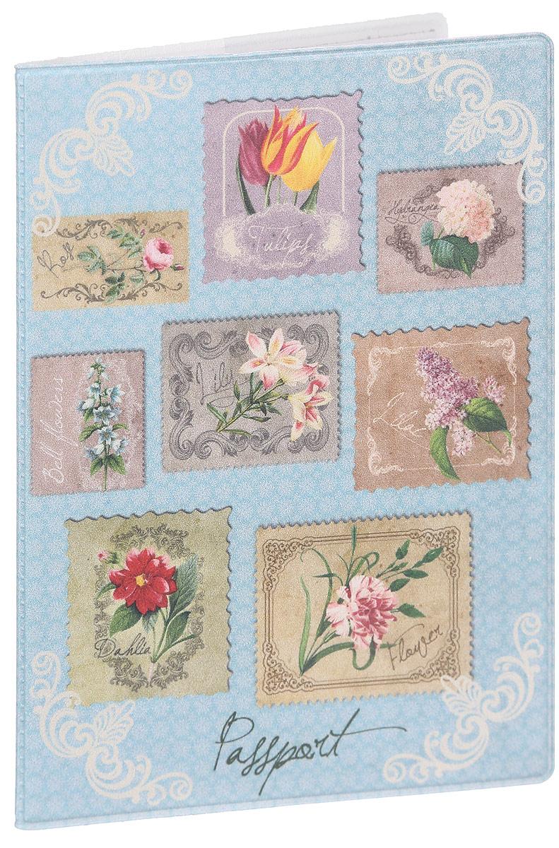 Обложка для паспорта женская Magic Home Цветочная коллекция, цвет: голубой, мультиколор. 4157641576Стильная обложка для паспорта Magic Home Цветочная коллекция выполнена из ПВХ, оформлена принтом в виде марок с изображением цветов. Внутри изделия расположены два прозрачных кармашка. Такая обложка станет отличным подарком для человека, который ценит качественные и практичные вещи.