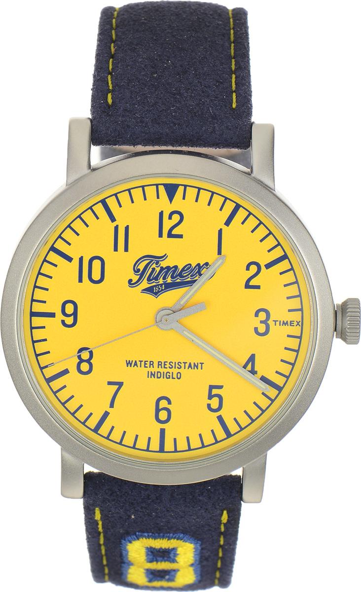 Часы наручные мужские Timex Originals, цвет: темно-синий, желтый. TW2P83400TW2P83400Стильные мужские часы Timex Originals - это модный и практичный аксессуар, который не только выгодно дополнит ваш образ, но и будет незаменим для каждого современного мужчины, ценящего свое время. Корпус выполнен из нержавеющей стали. Циферблат оснащен запатентованной электролюминесцентной подсветкой Indiglo и оформлен логотипом бренда. Корпус изделия имеет степень влагозащиты 3 Bar, оснащен кварцевым механизмом и дополнен устойчивым к царапинам минеральным стеклом. Прочный и устойчивый к выцветанию ремешок имеет покрытие из натуральной кожи и дополнен пряжкой, которая позволяет с легкостью снимать и надевать изделие. Часы поставляются в фирменной упаковке. Часы Timex подчеркнут ваш неповторимый стиль и дополнят любой наряд.