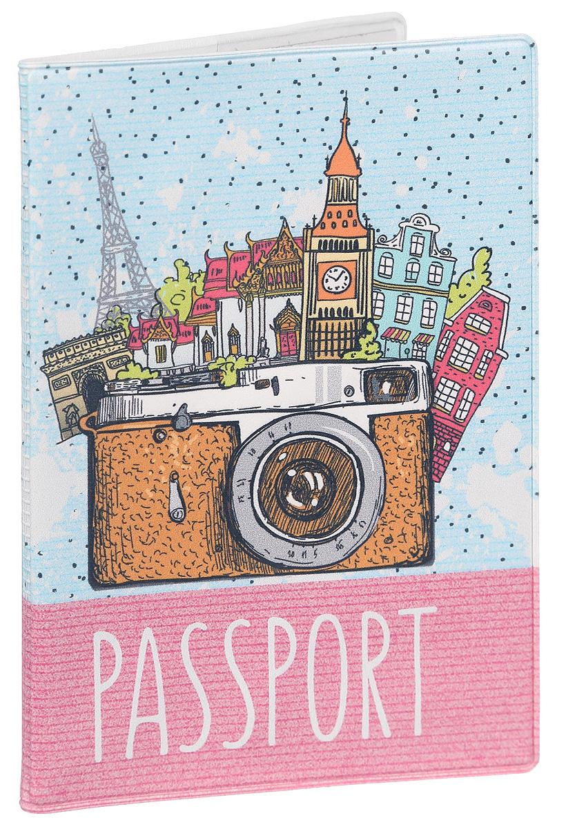 Обложка для паспорта Magic Home Фототур, цвет: голубой, розовый. 4158141581Стильная обложка для паспорта Magic Home Фототур выполнена из поливинилхлорида, оформлена принтом с изображением города. Внутри изделия расположены два прозрачных кармашка из ПВХ. Такая обложка станет отличным подарком для человека, который ценит качественные и практичные вещи.