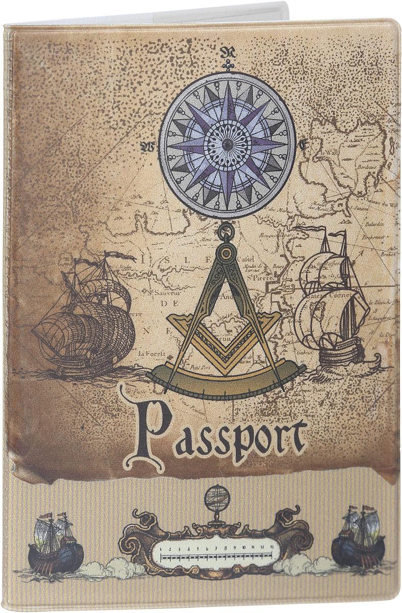 Обложка для паспорта Magic Home Вокруг света, цвет: коричневый. 4157941579Стильная обложка для паспорта Magic Home Вокруг света выполнена из поливинилхлорида, оформлена принтом в старинном стиле. Внутри изделия расположены два прозрачных кармашка из ПВХ. Такая обложка станет отличным подарком для человека, который ценит качественные и практичные вещи.
