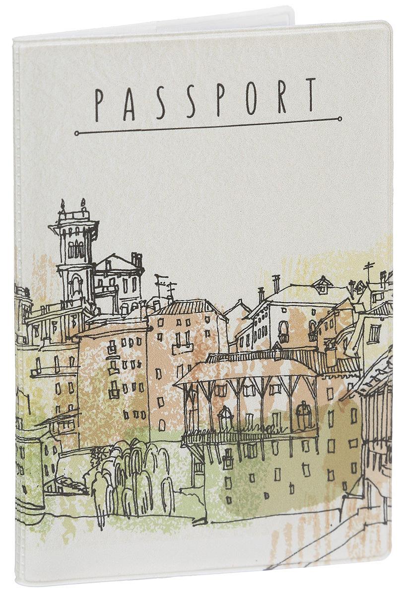 Обложка для паспорта Magic Home Bassano del Grappa, цвет: бежевый. 4157341573Стильная обложка для паспорта Magic Home Bassano del Grappa выполнена из поливинилхлорида, оформлена принтом с изображением города. Внутри изделия расположены два прозрачных кармашка из ПВХ. Такая обложка станет отличным подарком для человека, который ценит качественные и практичные вещи.