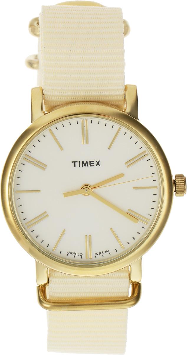 Часы наручные женские Timex Originals, цвет: кремовый, золотой. TW2P88800TW2P88800Стильные часы Timex выполнены из нержавеющей стали и минерального стекла. Циферблат оснащен запатентованной электролюминесцентной подсветкой INDIGLO и оформлен символикой бренда. Корпус изделия имеет степень влагозащиты 3 Bar, оснащен кварцевым механизмом и дополнен устойчивым к царапинам минеральным стеклом. Ремешок современного дизайна выполнен из нейлона и оснащен пряжкой, которая позволит с легкостью снимать и надевать изделие. Часы поставляются в фирменной упаковке. Часы Timex подчеркнут изящество женской руки и отменное чувство стиля у их обладательницы.