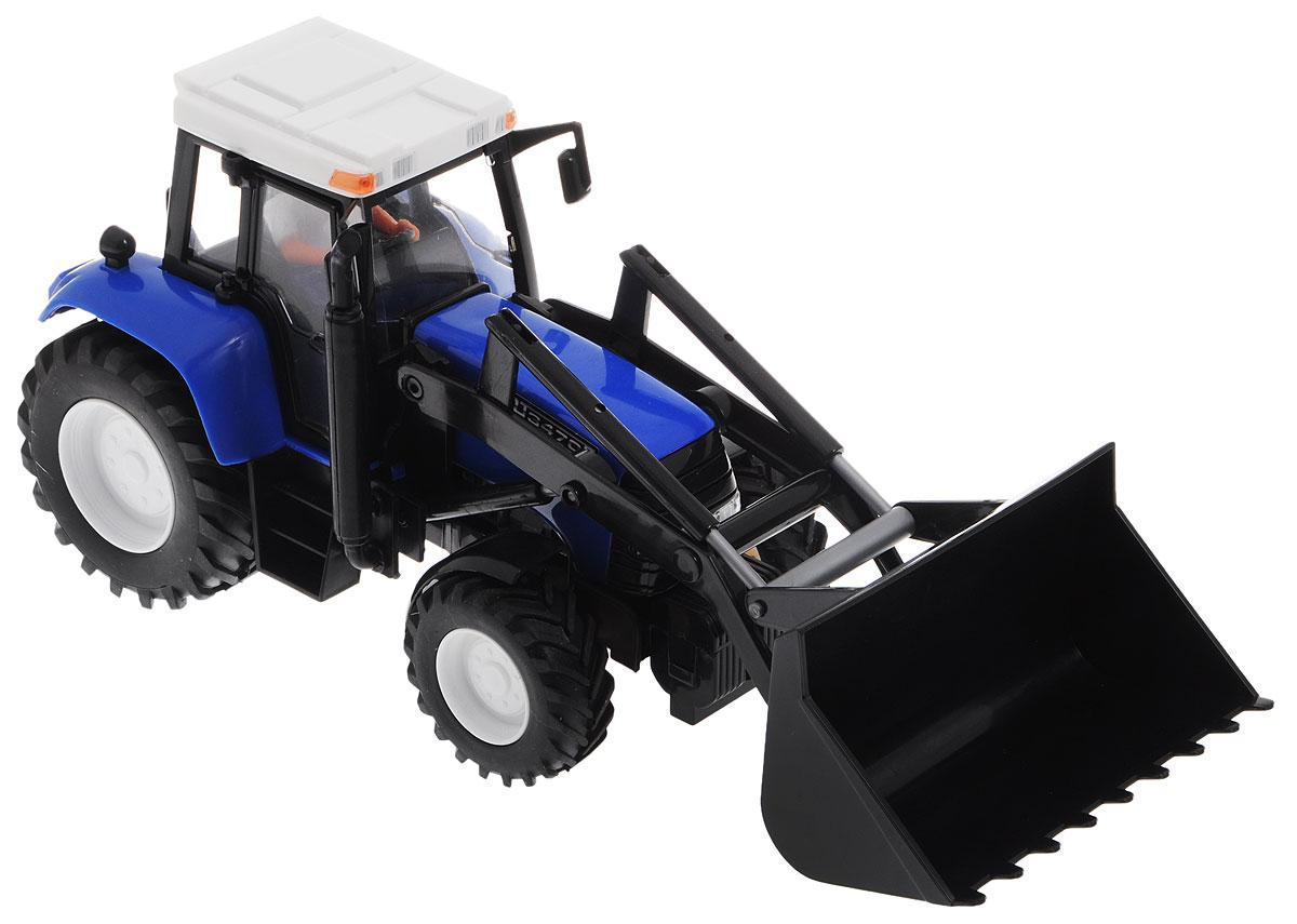 Dickie Toys Трактор цвет синий черный3735002Трактор Dickie Toys непременно понравится вашему ребенку. Игрушка выполнена из прочного пластика в виде трактора с ковшом. В кабине трактора находится фигурка водителя. Ковш может подниматься и опускаться. Прорезиненные колеса обеспечивают хорошее сцепление с поверхностью пола. Трактор оснащен инерционным механизмом: достаточно немного подтолкнуть его вперед или назад, а затем отпустить, и он сам поедет в этом же направлении. С этой игрушкой ваш малыш будет часами занят игрой. Порадуйте его таким замечательным подарком!