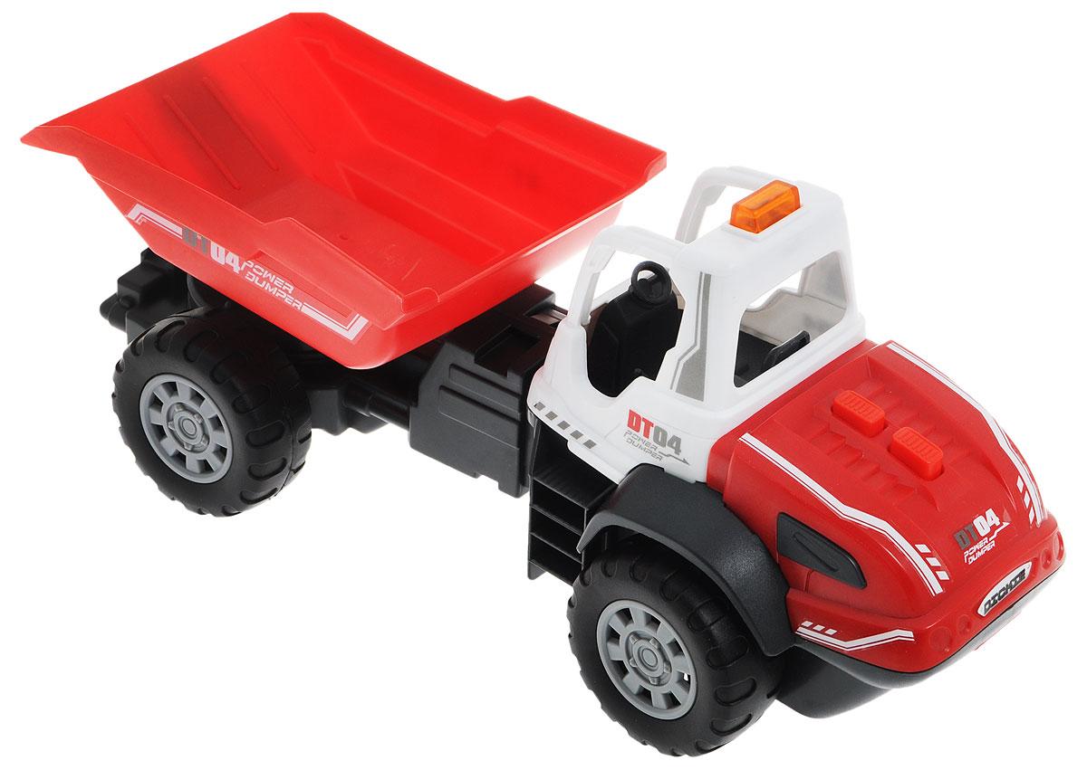 Dickie Toys Самосвал DT043413433Самосвал Dickie Toys DT04 непременно понравится вашему ребенку. Игрушка выполнена из прочного пластика в виде маневренного самосвала с поворотной рамой. Движение кузова управляется с помощью двух кнопок, расположенных на капоте, и сопровождается характерными звуками. Одна кнопка поднимает кузов, другая опускает. При движении кузова загорается оранжевая лампочка на крыше самосвала. С этой игрушкой ваш малыш будет часами занят игрой. Порадуйте его таким замечательным подарком! Для работы игрушки необходимы 2 батарейки напряжением 1,5V типа АА (товар комплектуется демонстрационными).