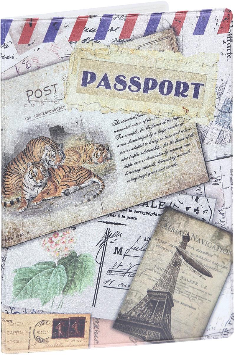 Обложка для паспорта Magic Home Тигры, цвет: бежевый. 4157541575Стильная обложка для паспорта Magic Home Тигры выполнена из поливинилхлорида, оформлена принтом с изображением старинных открыток. Внутри изделия расположены два прозрачных кармашка из ПВХ. Такая обложка станет отличным подарком для человека, который ценит качественные и практичные вещи.