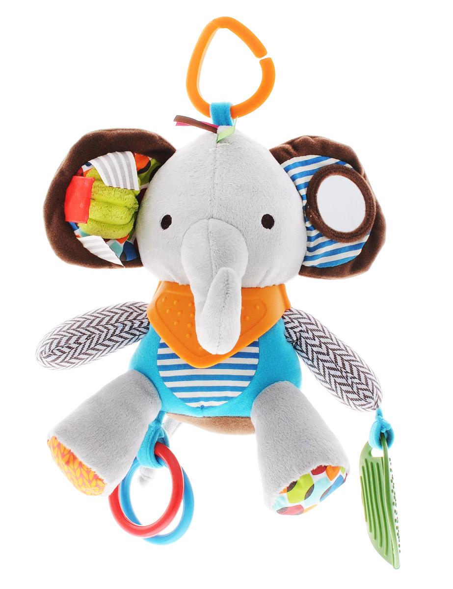 Skip Hop Развивающая игрушка-подвеска на коляску СлонSH 306202Развивающая игрушка-подвеска на коляску Skip Hop Слон обязательно понравится вашему малышу. Игрушка выполнена из разнофактурных текстильных материалов в виде симпатичного слоненка с мягким пластиковым нагрудником и яркими пластиковыми колечками. Ушки и нижние лапы слоненка дополнены шуршащими элементами. В правое ушко вставлено безопасное зеркальце, в левое ушко вшита пищалка. В левой лапке и слоника - зеленый листочек-прорезыватель. Игрушку-подвеску можно подвесить на коляску или детское кресло с помощью пластикового кольца. Развивающая игрушка-подвеска Skip Hop Слон поможет развить у малыша мелкую моторику рук, звуковое и зрительное восприятие, тактильные ощущения и координацию движений.